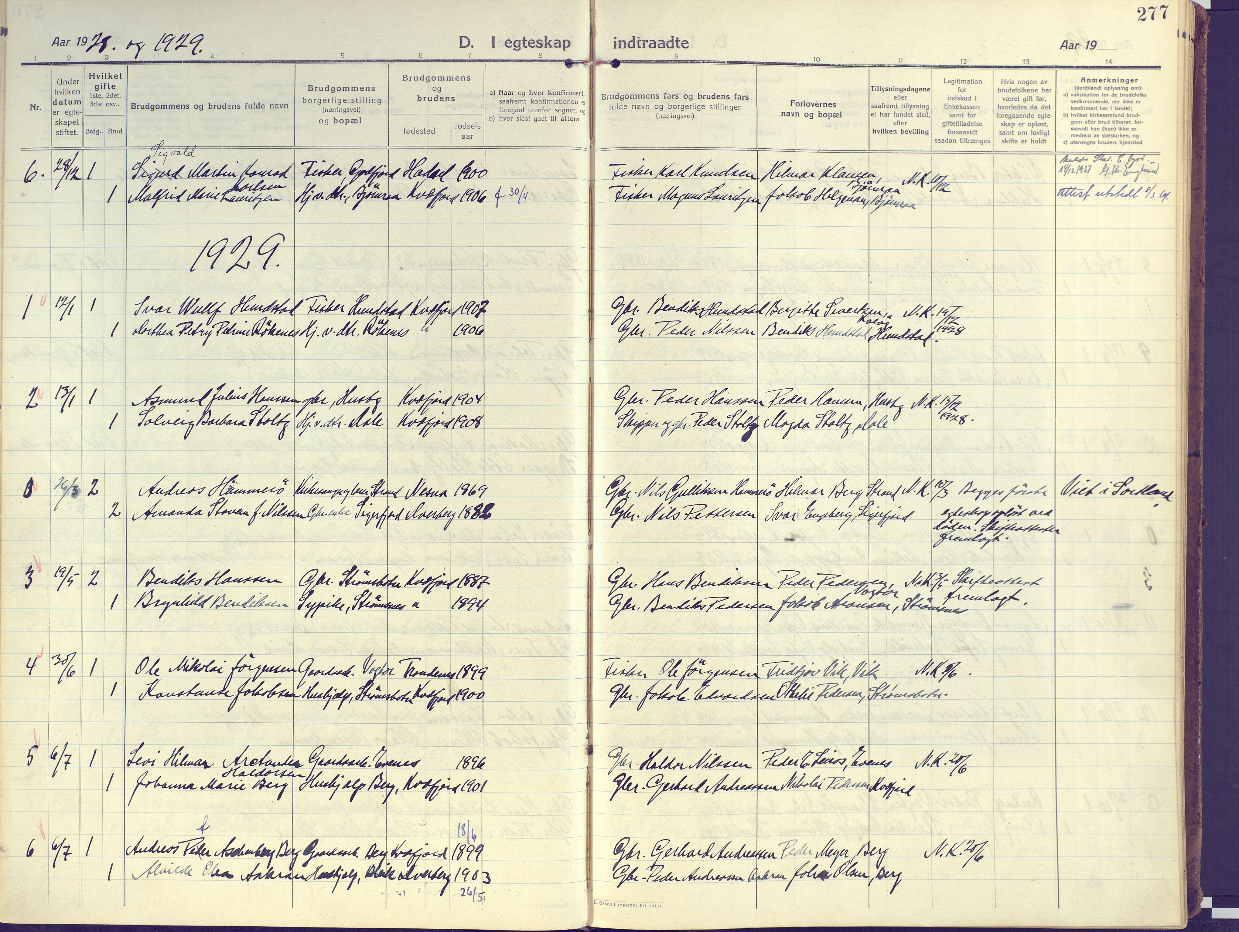 SATØ, Kvæfjord sokneprestkontor, G/Ga/Gaa/L0007kirke: Ministerialbok nr. 7, 1915-1931, s. 277