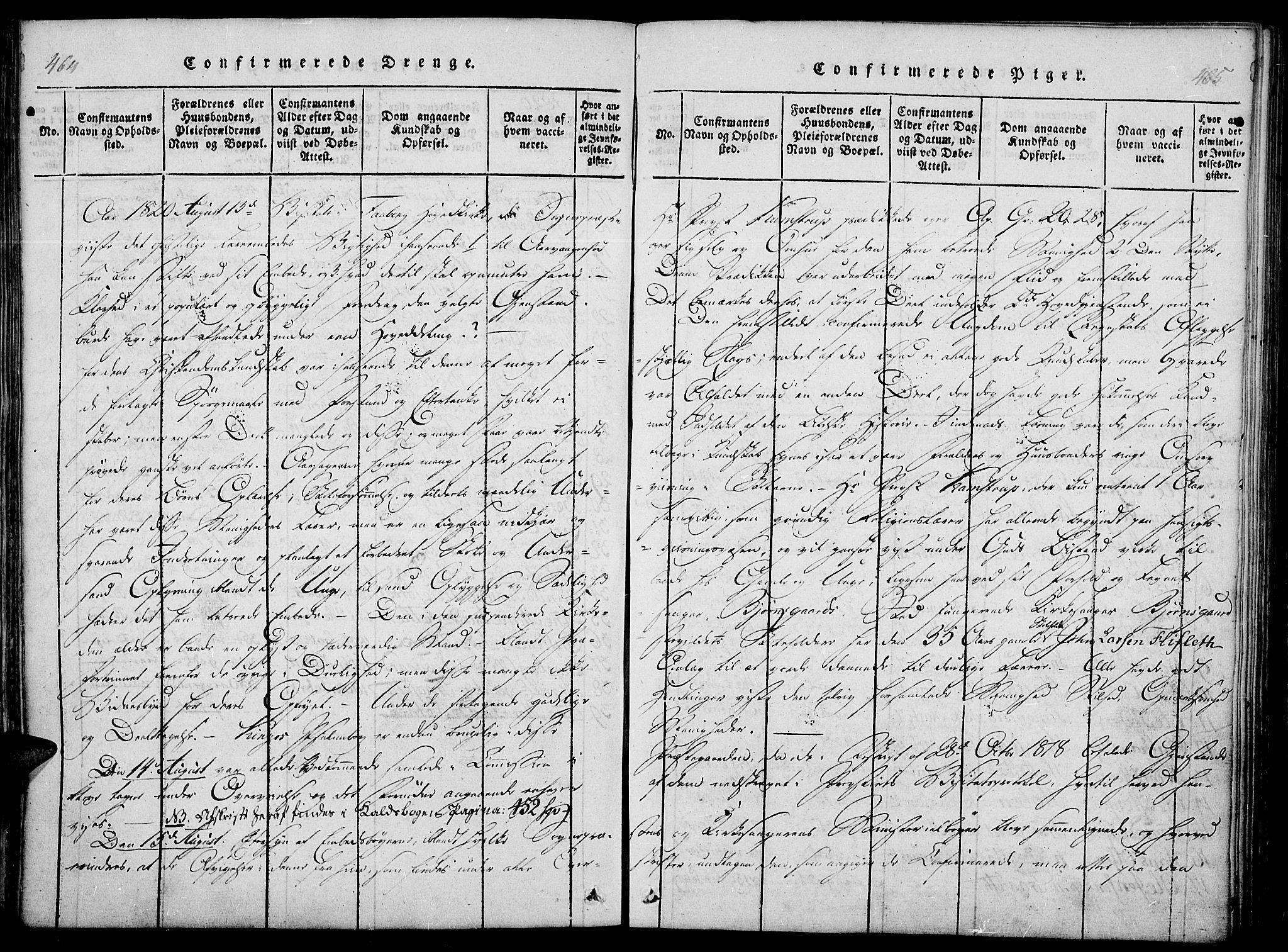 SAH, Fåberg prestekontor, Ministerialbok nr. 3, 1818-1833, s. 464-465