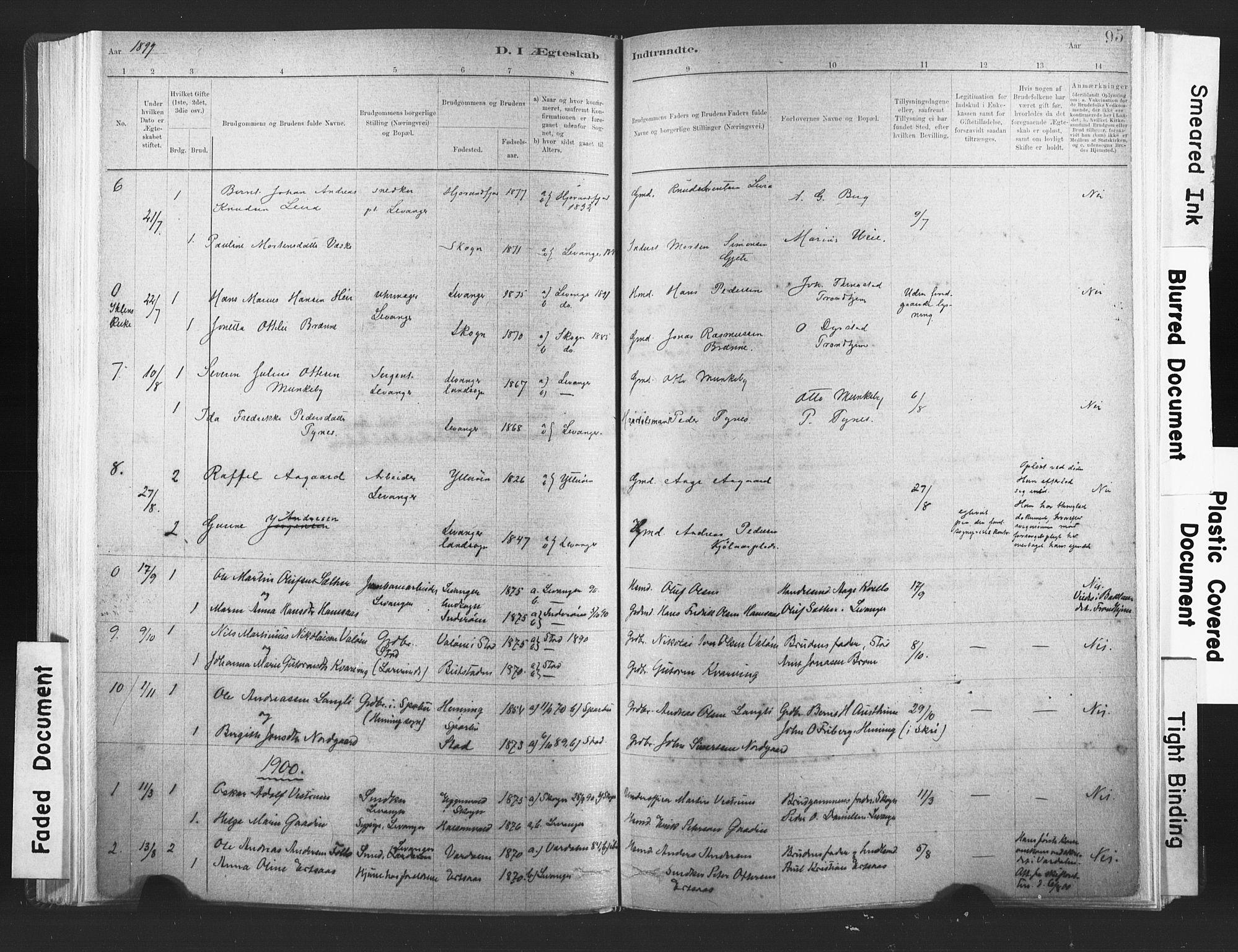 SAT, Ministerialprotokoller, klokkerbøker og fødselsregistre - Nord-Trøndelag, 720/L0189: Ministerialbok nr. 720A05, 1880-1911, s. 95