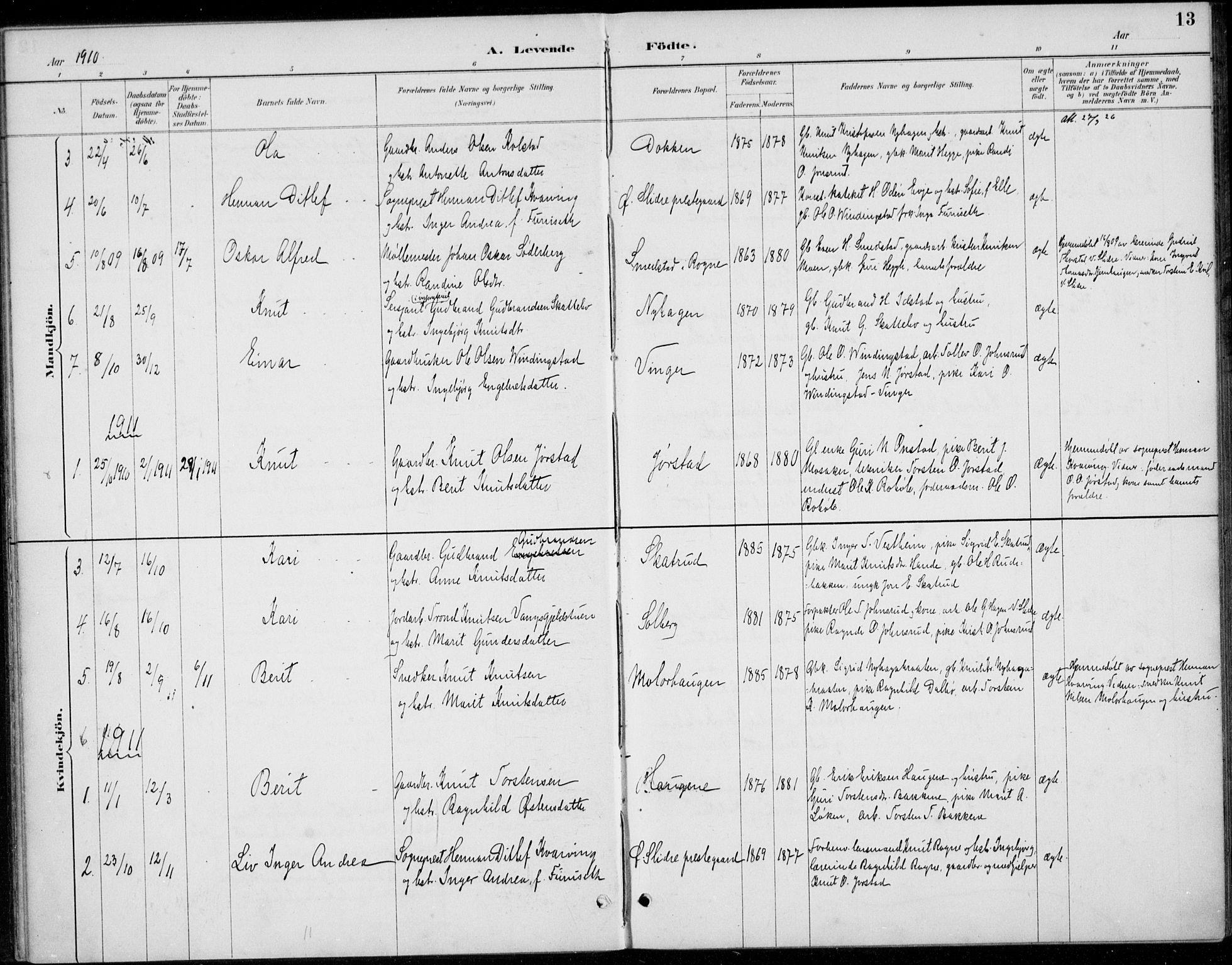 SAH, Øystre Slidre prestekontor, Ministerialbok nr. 5, 1887-1916, s. 13