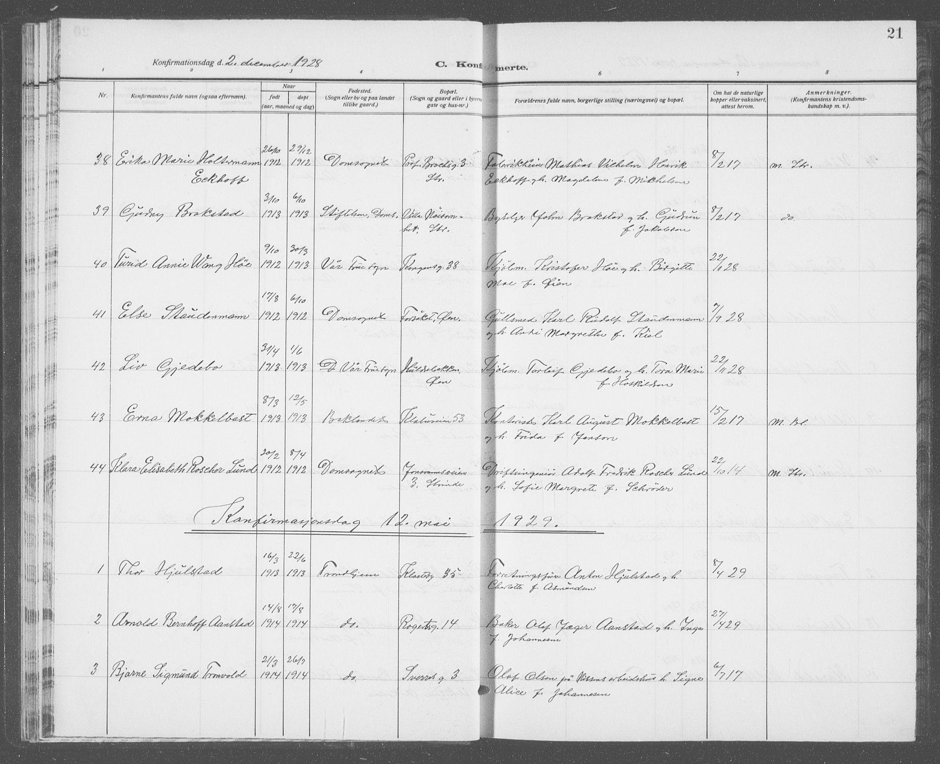 SAT, Ministerialprotokoller, klokkerbøker og fødselsregistre - Sør-Trøndelag, 601/L0099: Klokkerbok nr. 601C17, 1928-1941, s. 21