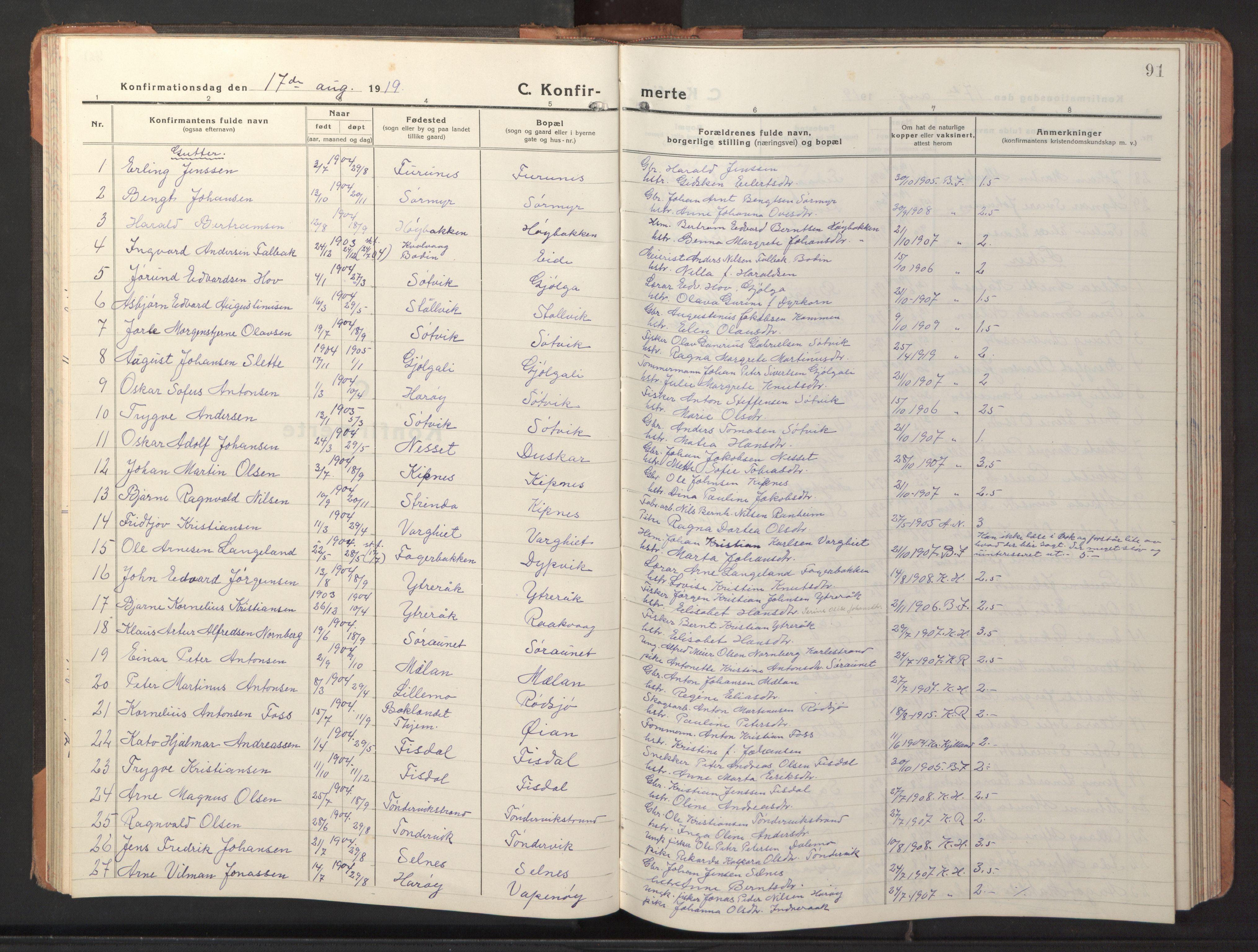 SAT, Ministerialprotokoller, klokkerbøker og fødselsregistre - Sør-Trøndelag, 653/L0658: Klokkerbok nr. 653C02, 1919-1947, s. 91