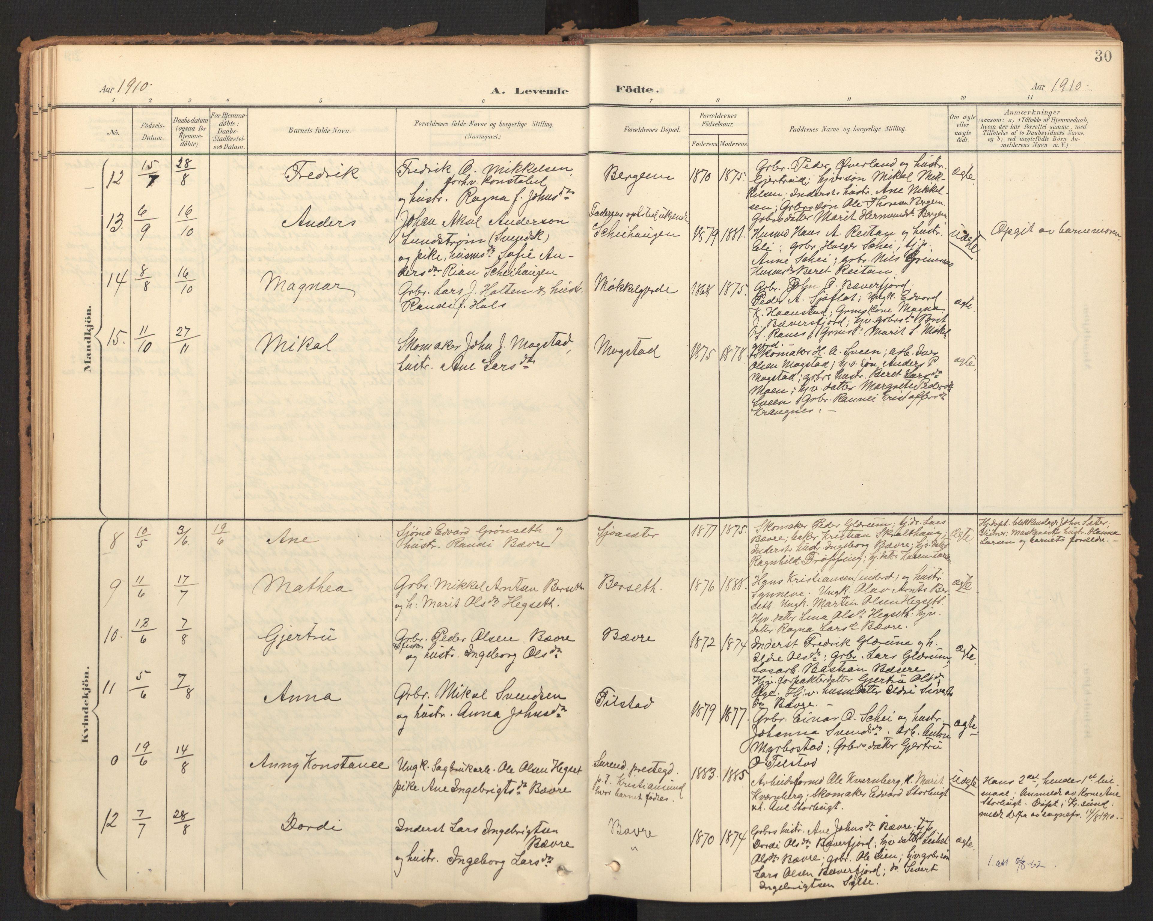 SAT, Ministerialprotokoller, klokkerbøker og fødselsregistre - Møre og Romsdal, 595/L1048: Ministerialbok nr. 595A10, 1900-1917, s. 30