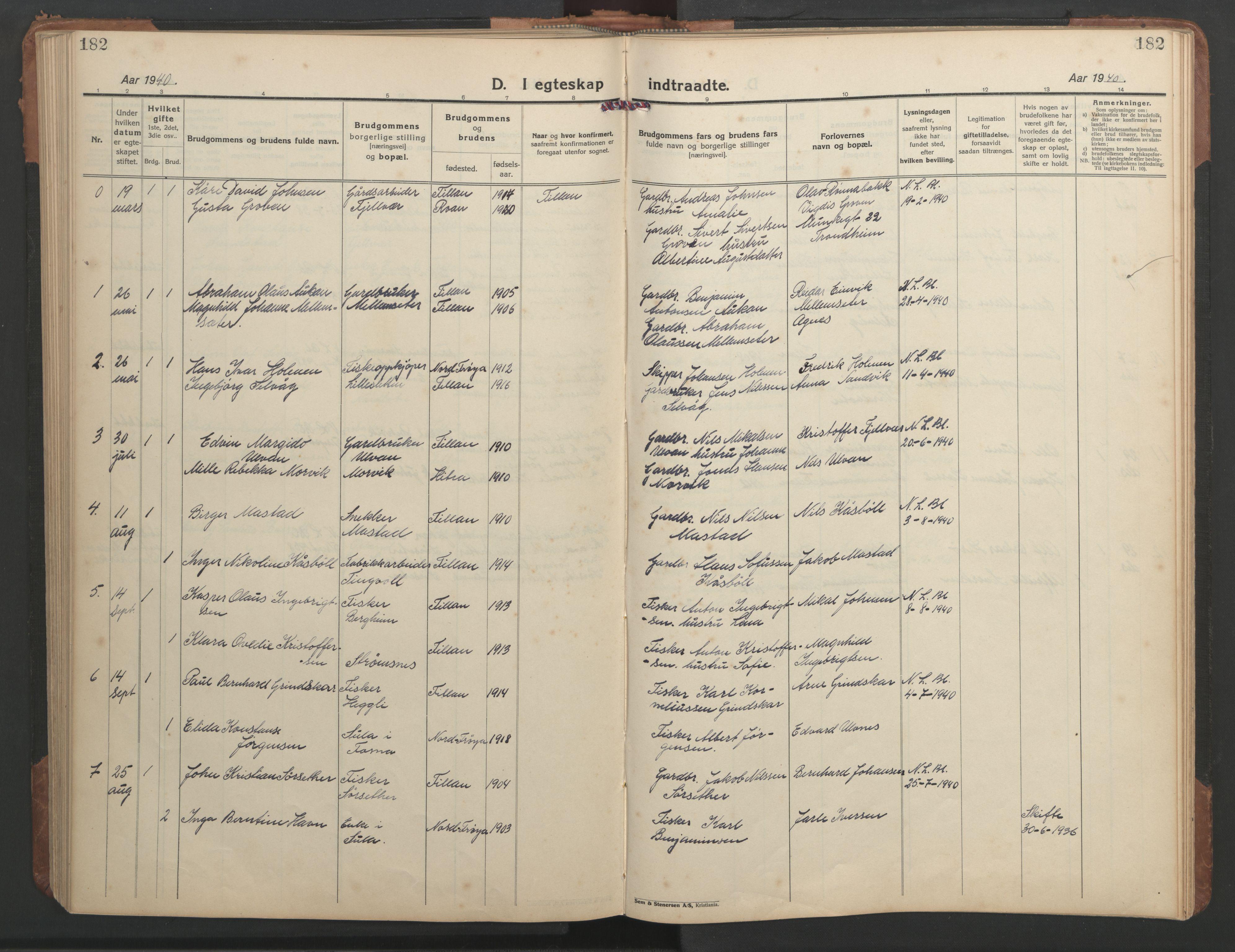 SAT, Ministerialprotokoller, klokkerbøker og fødselsregistre - Sør-Trøndelag, 638/L0569: Klokkerbok nr. 638C01, 1923-1961, s. 182
