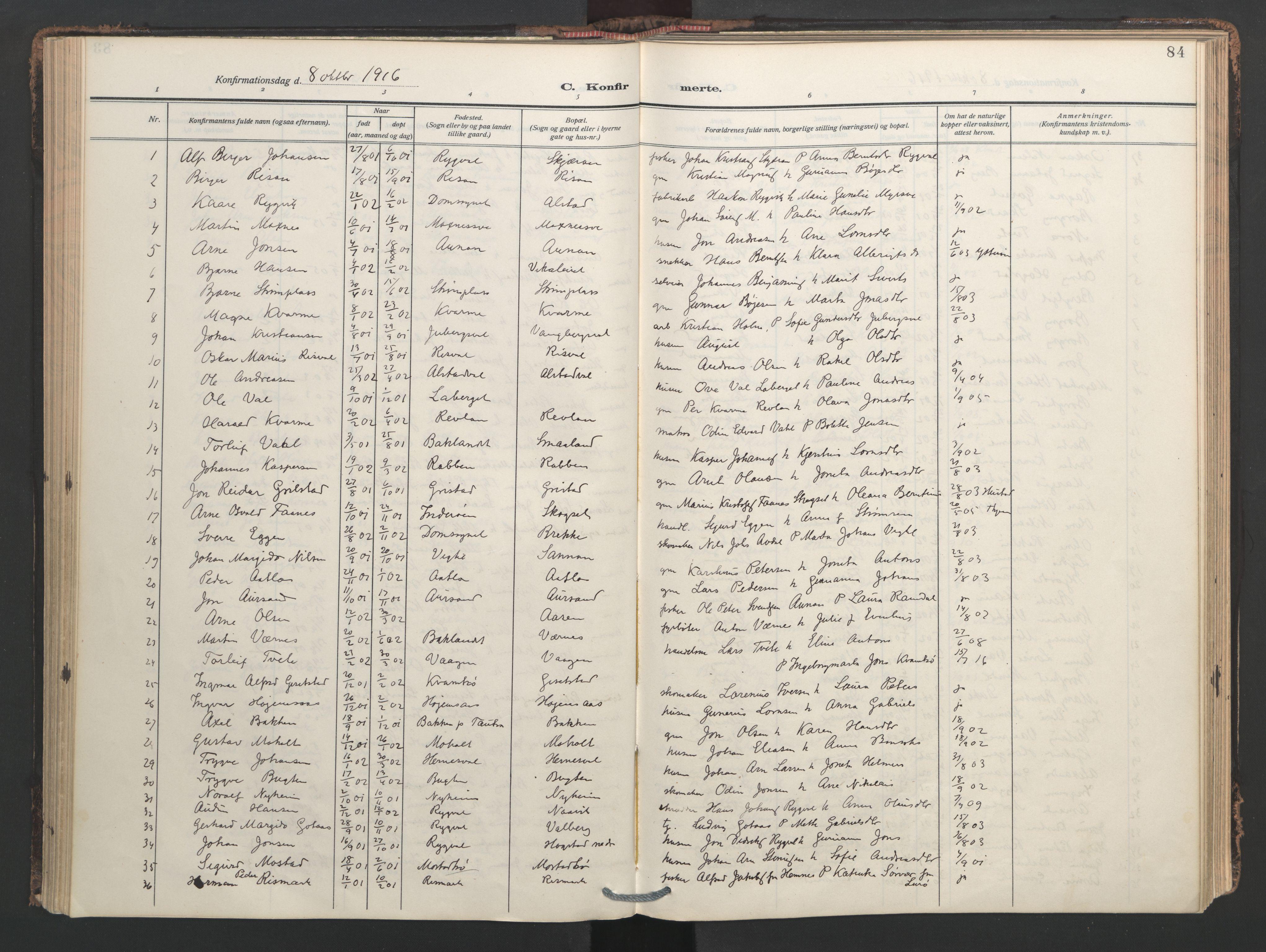 SAT, Ministerialprotokoller, klokkerbøker og fødselsregistre - Nord-Trøndelag, 713/L0123: Ministerialbok nr. 713A12, 1911-1925, s. 84