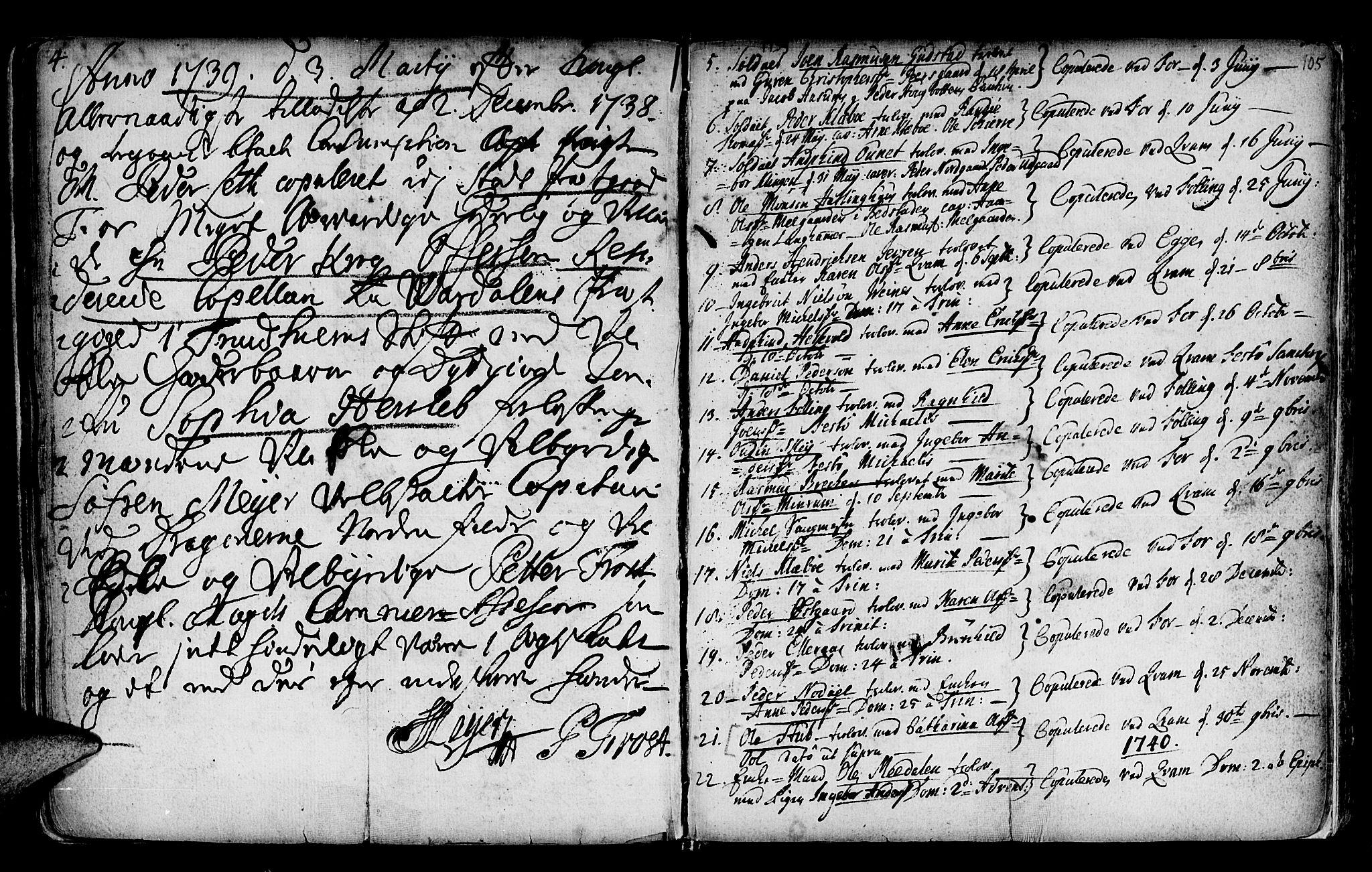 SAT, Ministerialprotokoller, klokkerbøker og fødselsregistre - Nord-Trøndelag, 746/L0439: Ministerialbok nr. 746A01, 1688-1759, s. 105