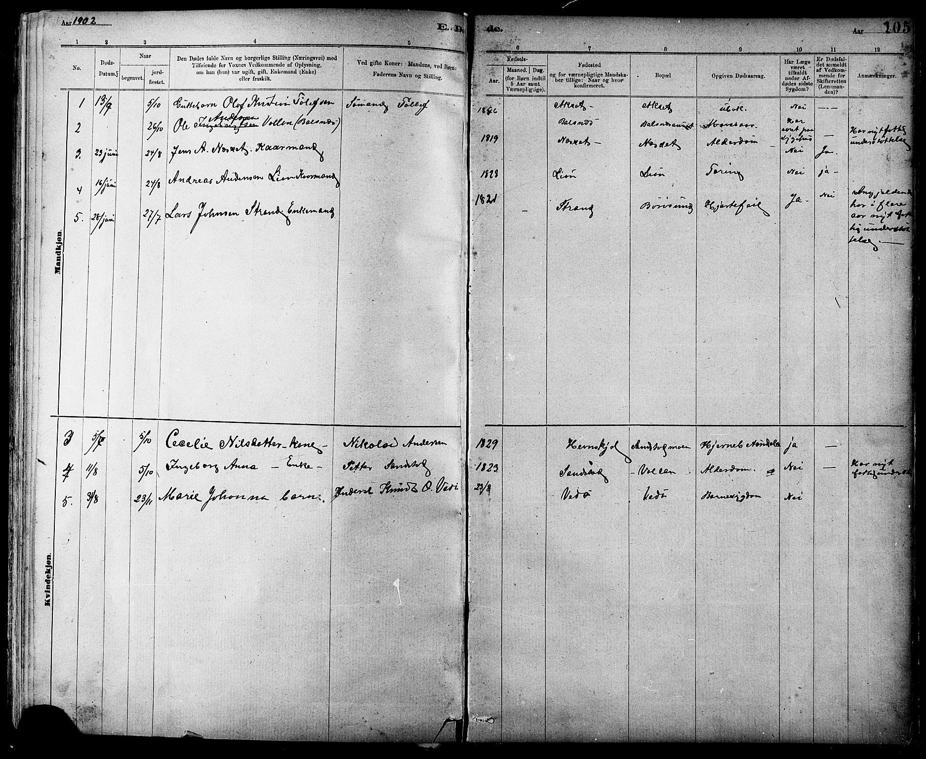 SAT, Ministerialprotokoller, klokkerbøker og fødselsregistre - Sør-Trøndelag, 639/L0573: Klokkerbok nr. 639C01, 1890-1905, s. 105