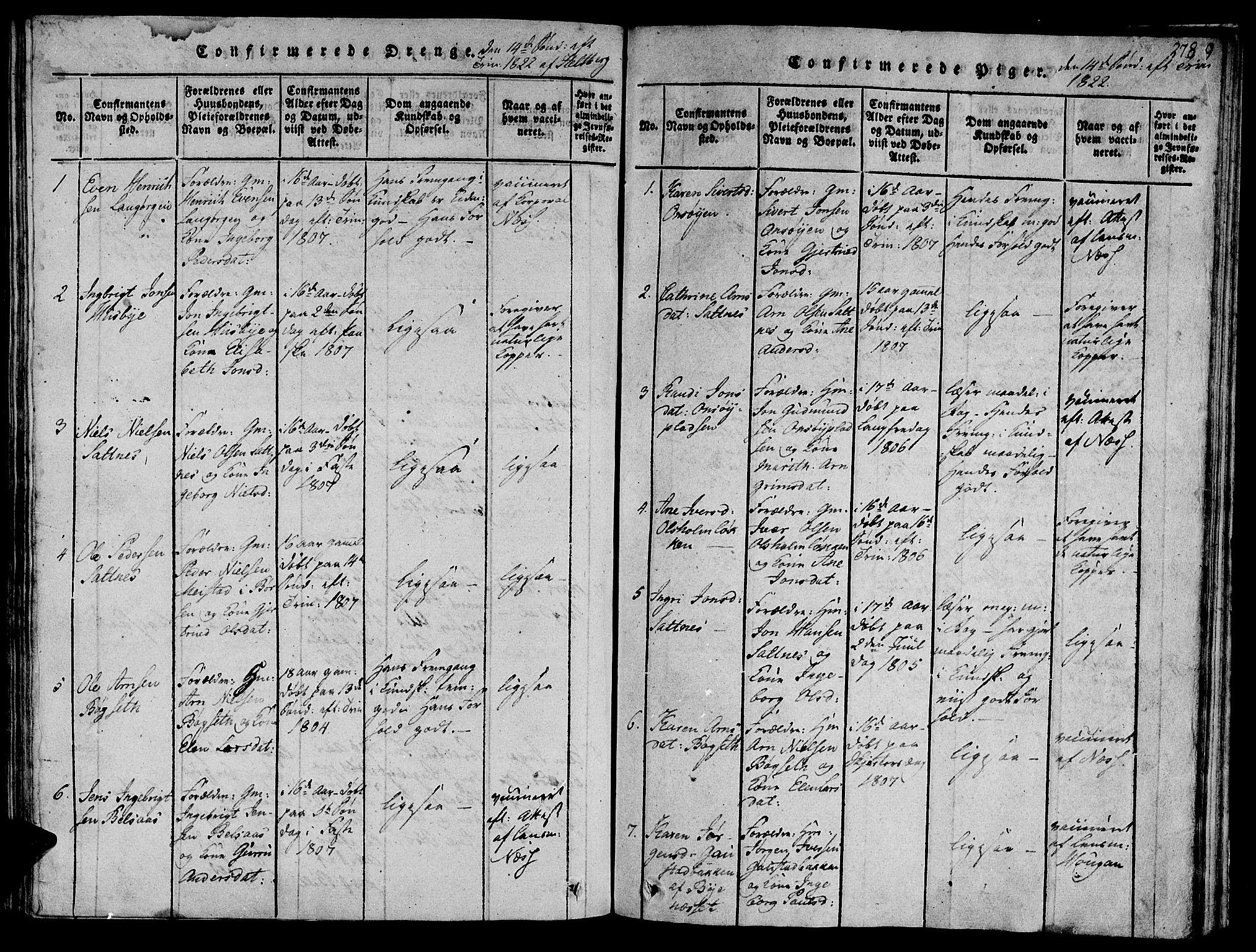 SAT, Ministerialprotokoller, klokkerbøker og fødselsregistre - Sør-Trøndelag, 612/L0373: Ministerialbok nr. 612A06 /2, 1816-1828, s. 278