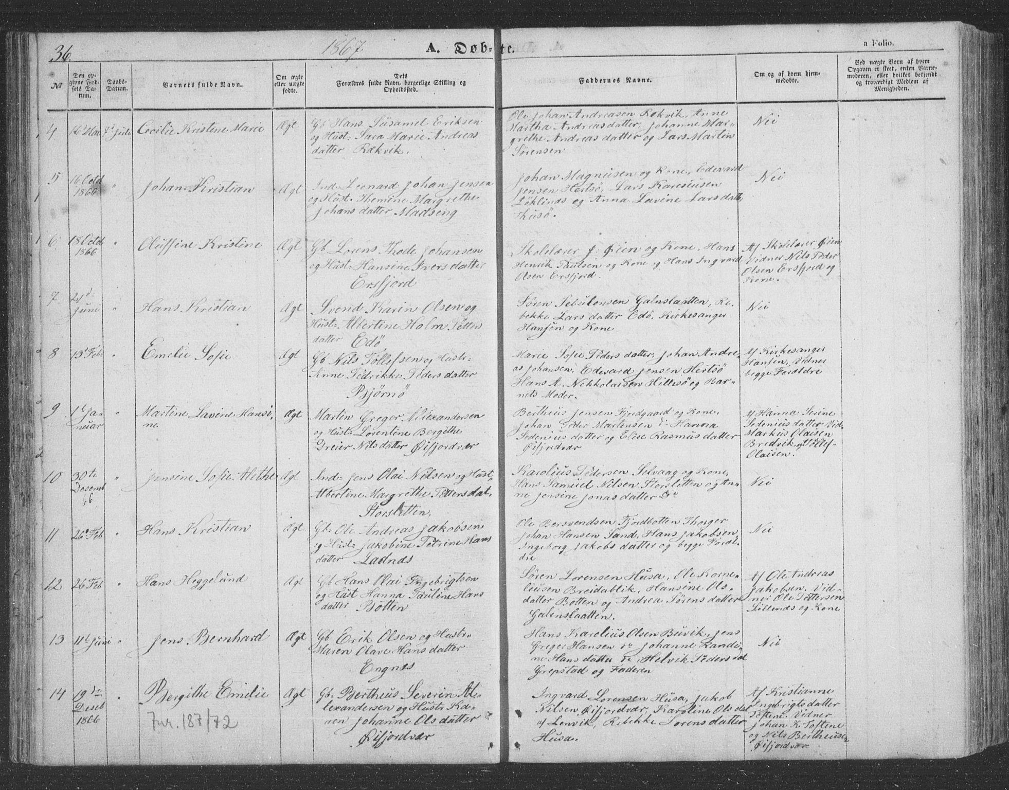 SATØ, Lenvik sokneprestembete, H/Ha/Hab/L0020klokker: Klokkerbok nr. 20, 1855-1883, s. 36