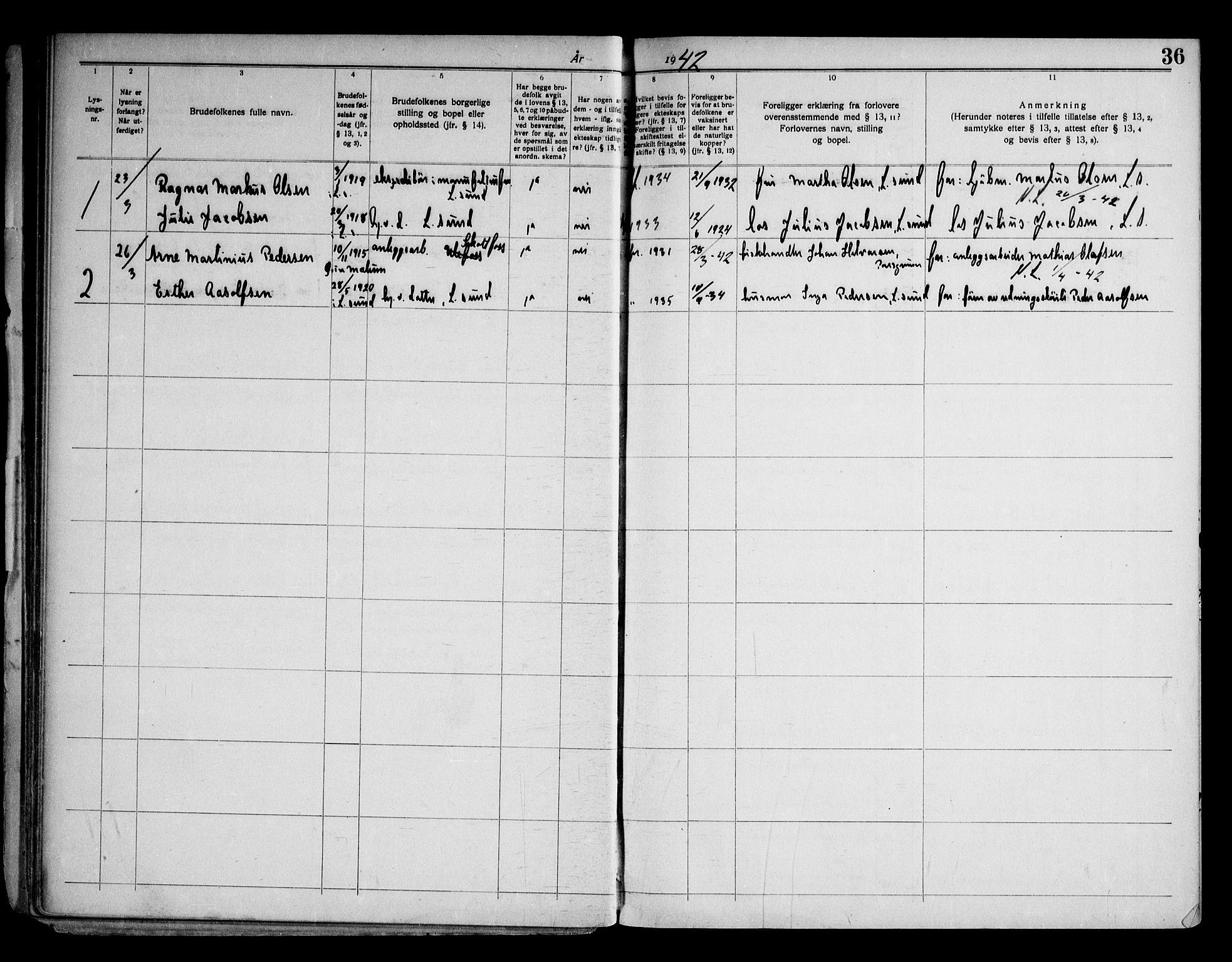 SAKO, Langesund kirkebøker, H/Ha/L0001: Lysningsprotokoll nr. 1, 1919-1973, s. 36