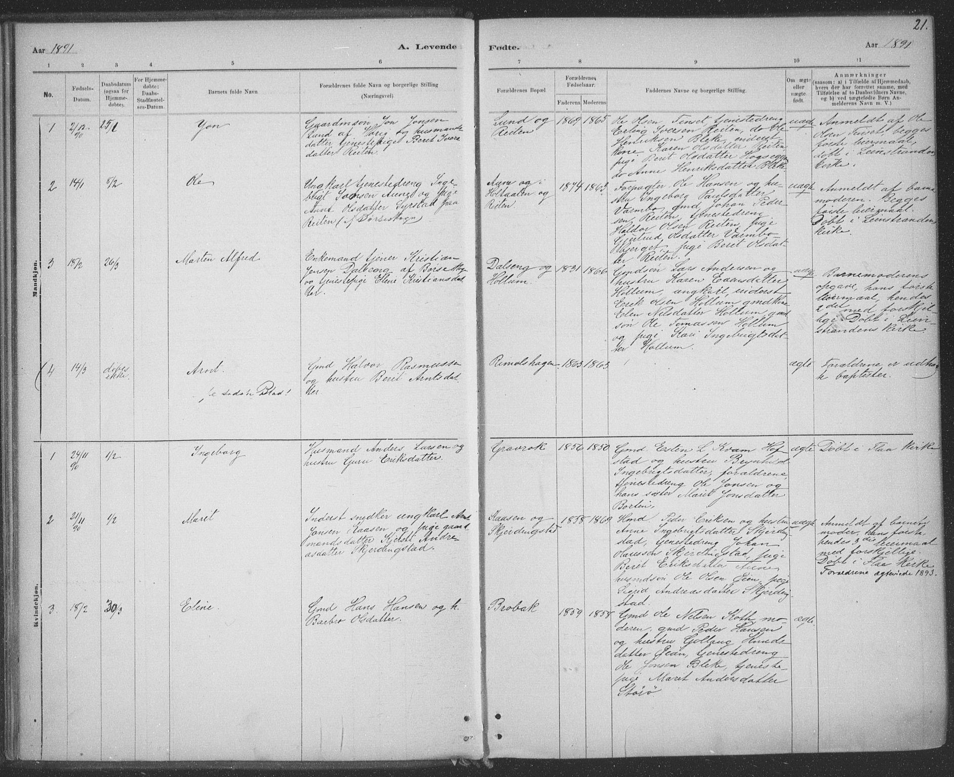 SAT, Ministerialprotokoller, klokkerbøker og fødselsregistre - Sør-Trøndelag, 691/L1085: Ministerialbok nr. 691A17, 1887-1908, s. 21