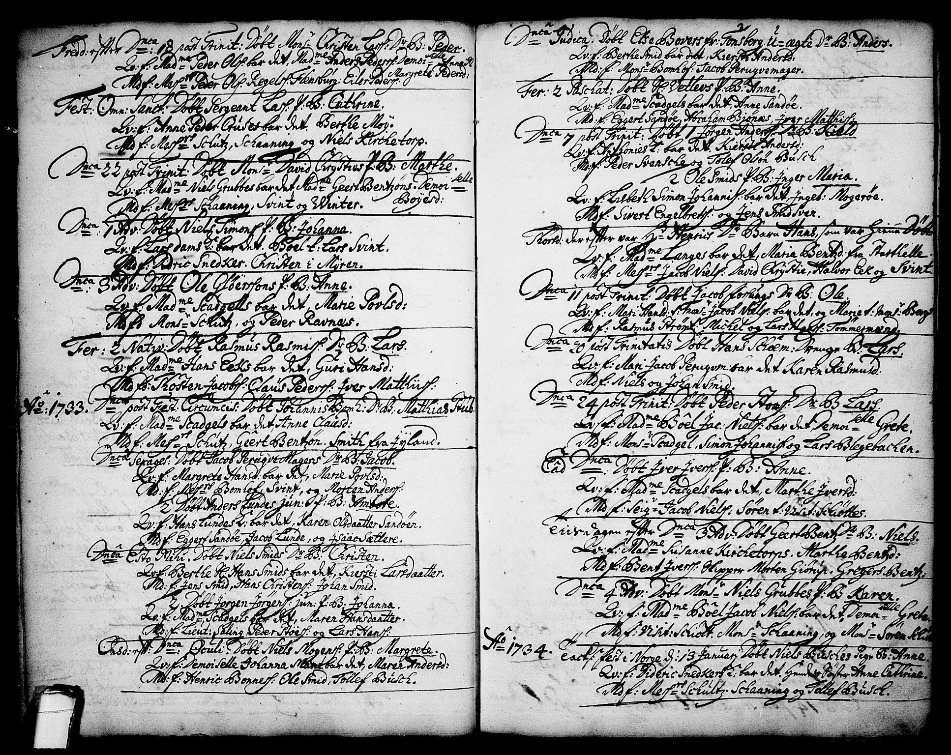 SAKO, Brevik kirkebøker, F/Fa/L0002: Ministerialbok nr. 2, 1720-1764, s. 34d