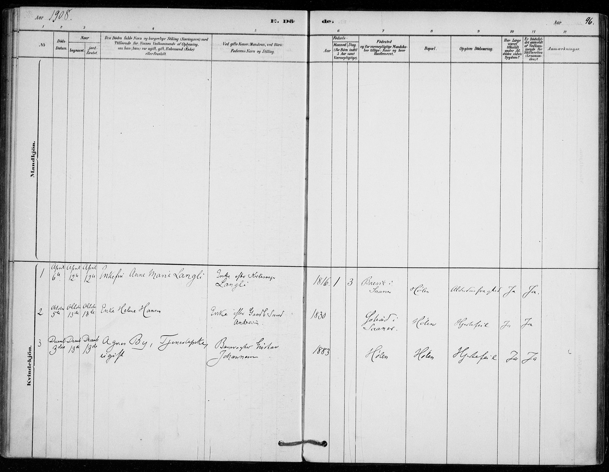 SAO, Vestby prestekontor Kirkebøker, F/Fe/L0001: Ministerialbok nr. V 1, 1878-1931, s. 96