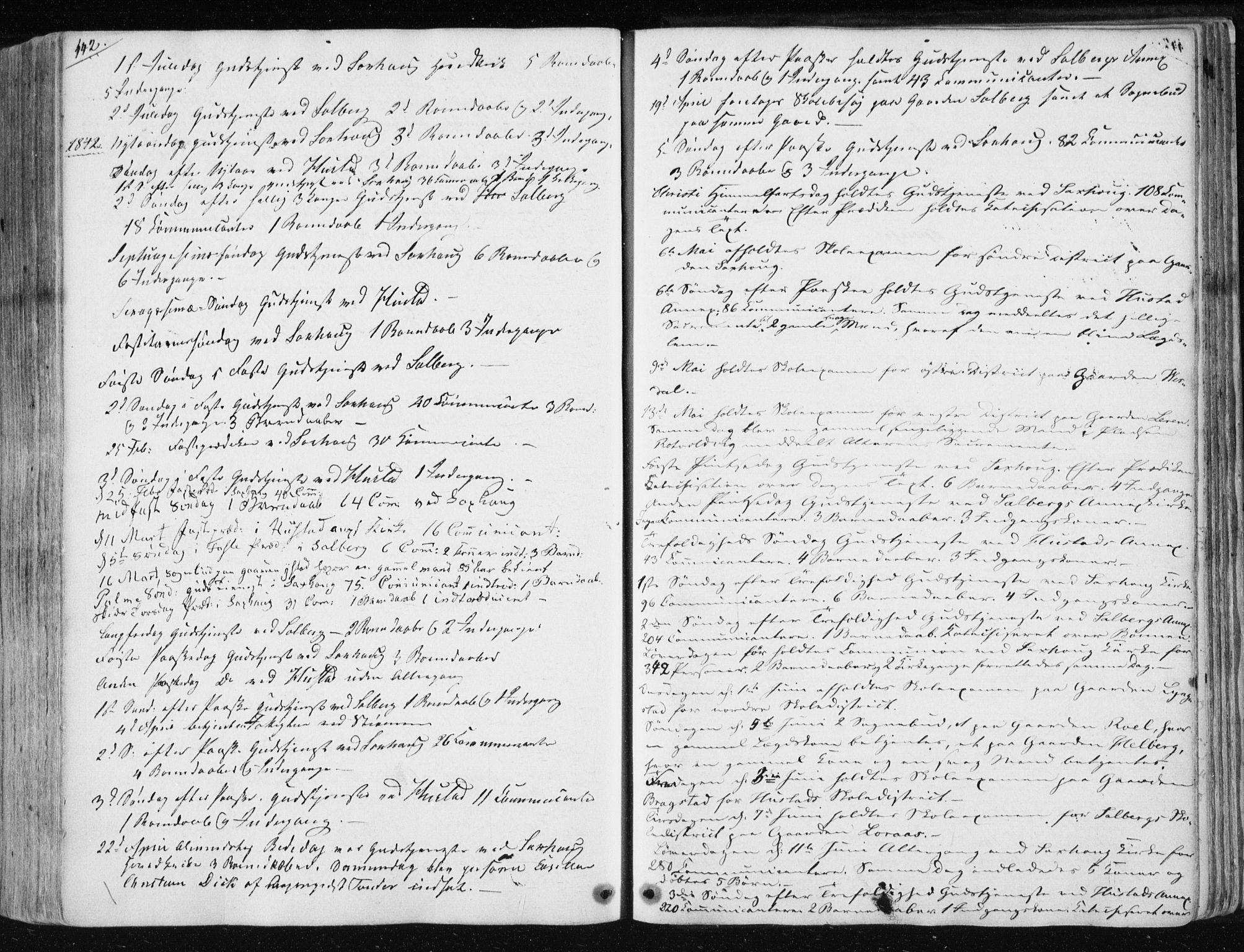 SAT, Ministerialprotokoller, klokkerbøker og fødselsregistre - Nord-Trøndelag, 730/L0280: Ministerialbok nr. 730A07 /1, 1840-1854, s. 442