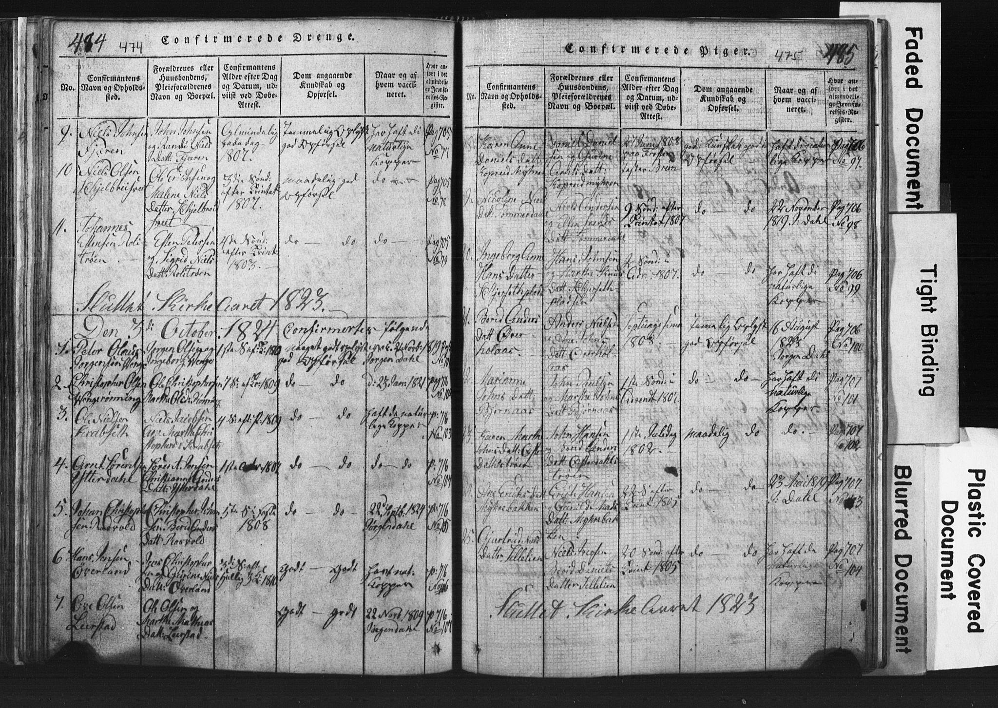 SAT, Ministerialprotokoller, klokkerbøker og fødselsregistre - Nord-Trøndelag, 701/L0017: Klokkerbok nr. 701C01, 1817-1825, s. 474-475