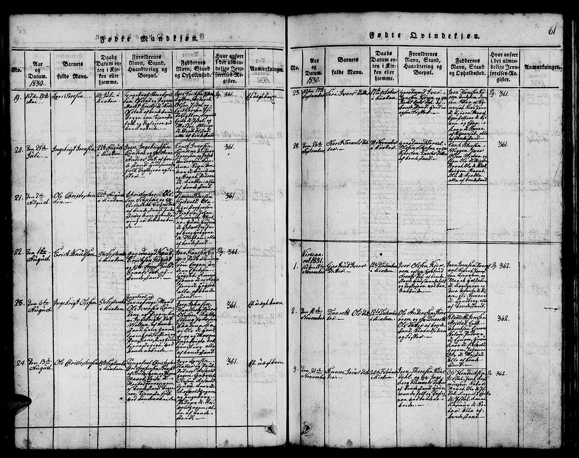 SAT, Ministerialprotokoller, klokkerbøker og fødselsregistre - Sør-Trøndelag, 665/L0776: Klokkerbok nr. 665C01, 1817-1837, s. 61
