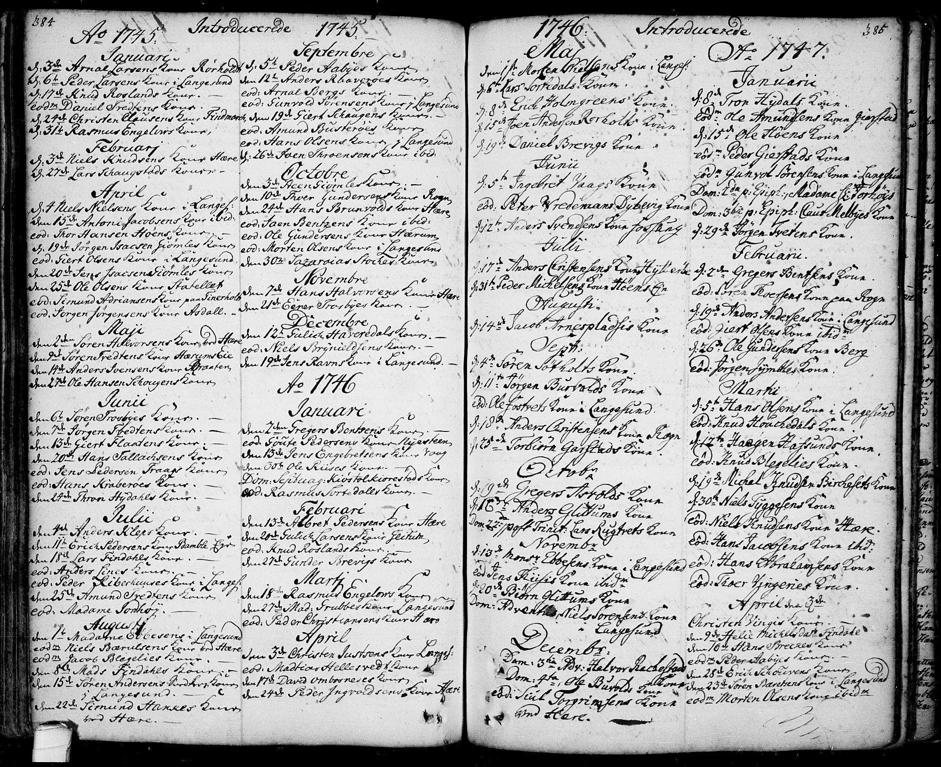 SAKO, Bamble kirkebøker, F/Fa/L0001: Ministerialbok nr. I 1, 1702-1774, s. 384-385