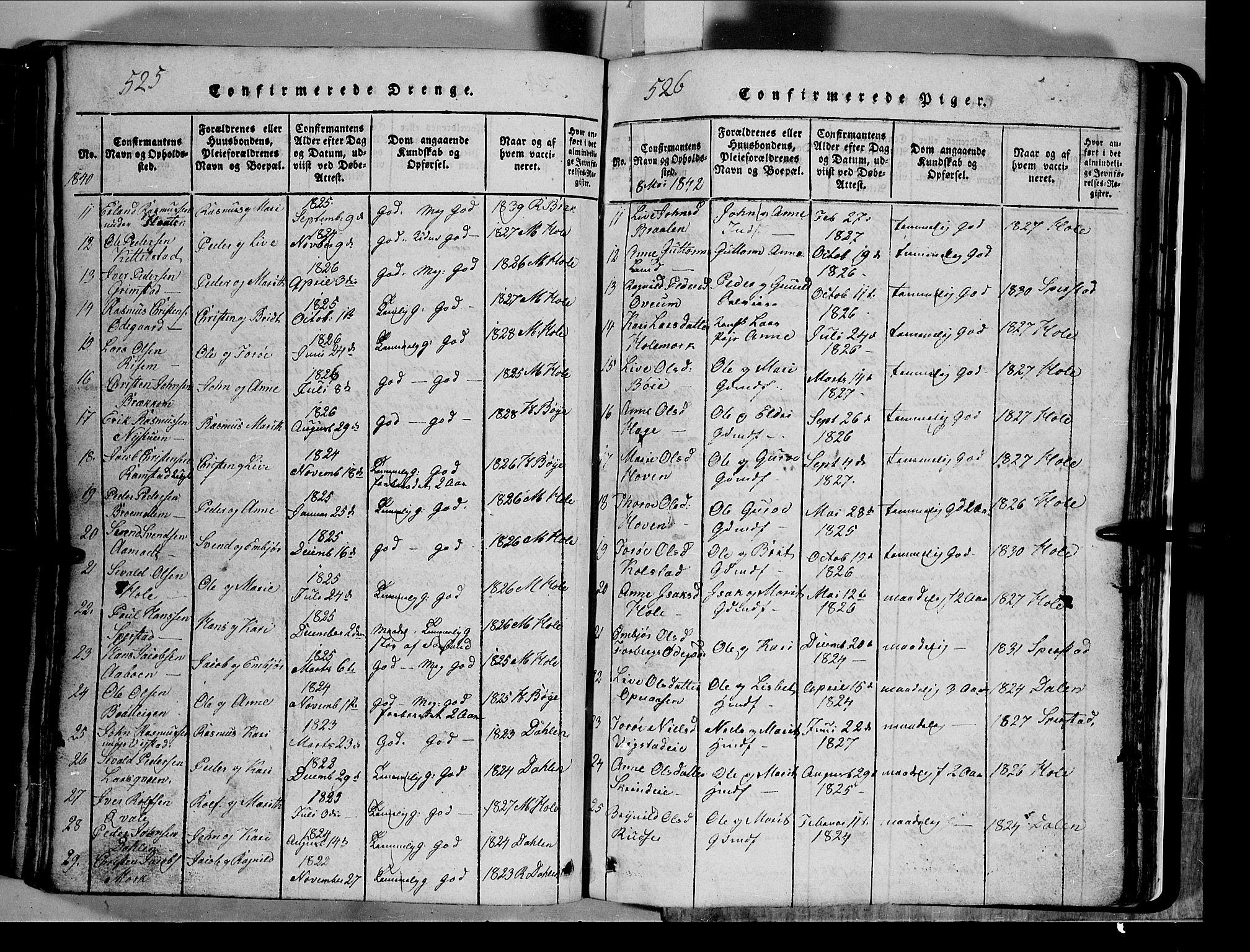 SAH, Lom prestekontor, L/L0003: Klokkerbok nr. 3, 1815-1844, s. 525-526