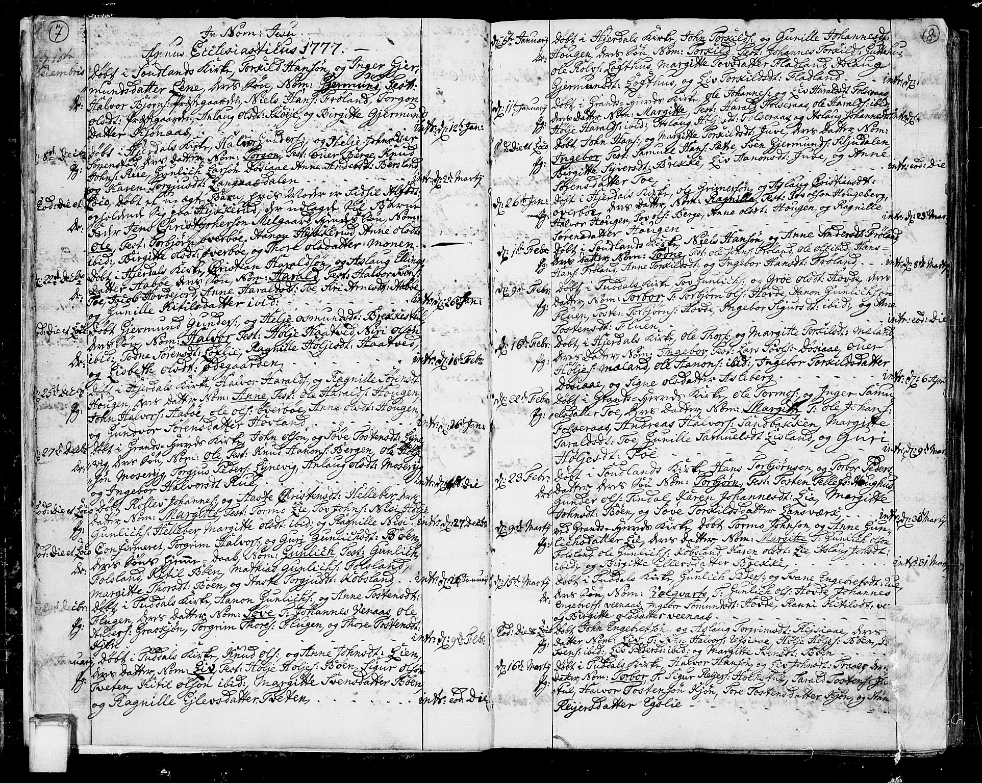SAKO, Hjartdal kirkebøker, F/Fa/L0005: Ministerialbok nr. I 5, 1776-1801, s. 7-8