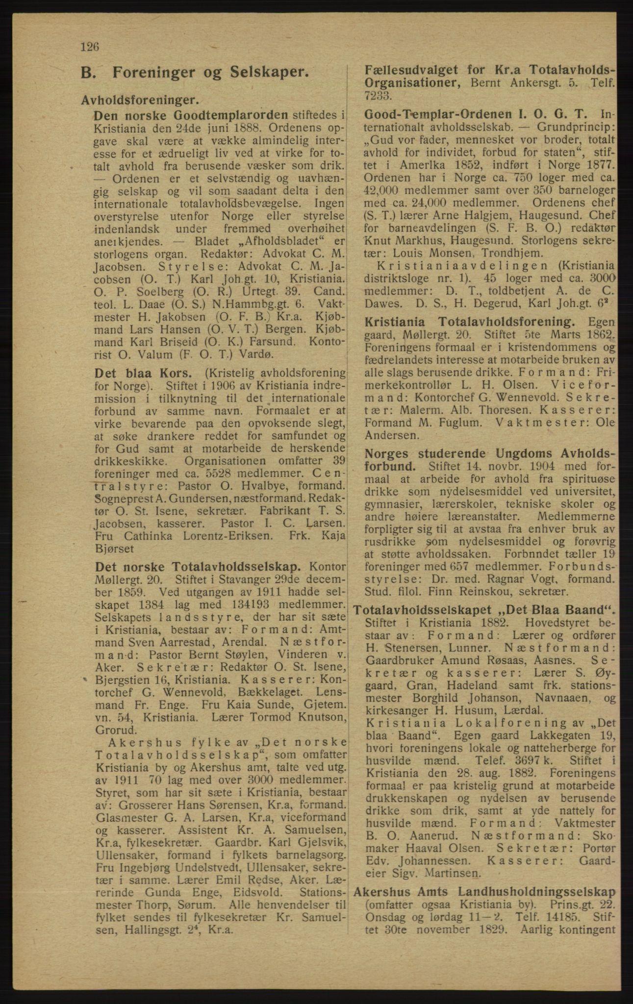 RA, Kristiania adressebok (publikasjon)*, 1913, s. 126