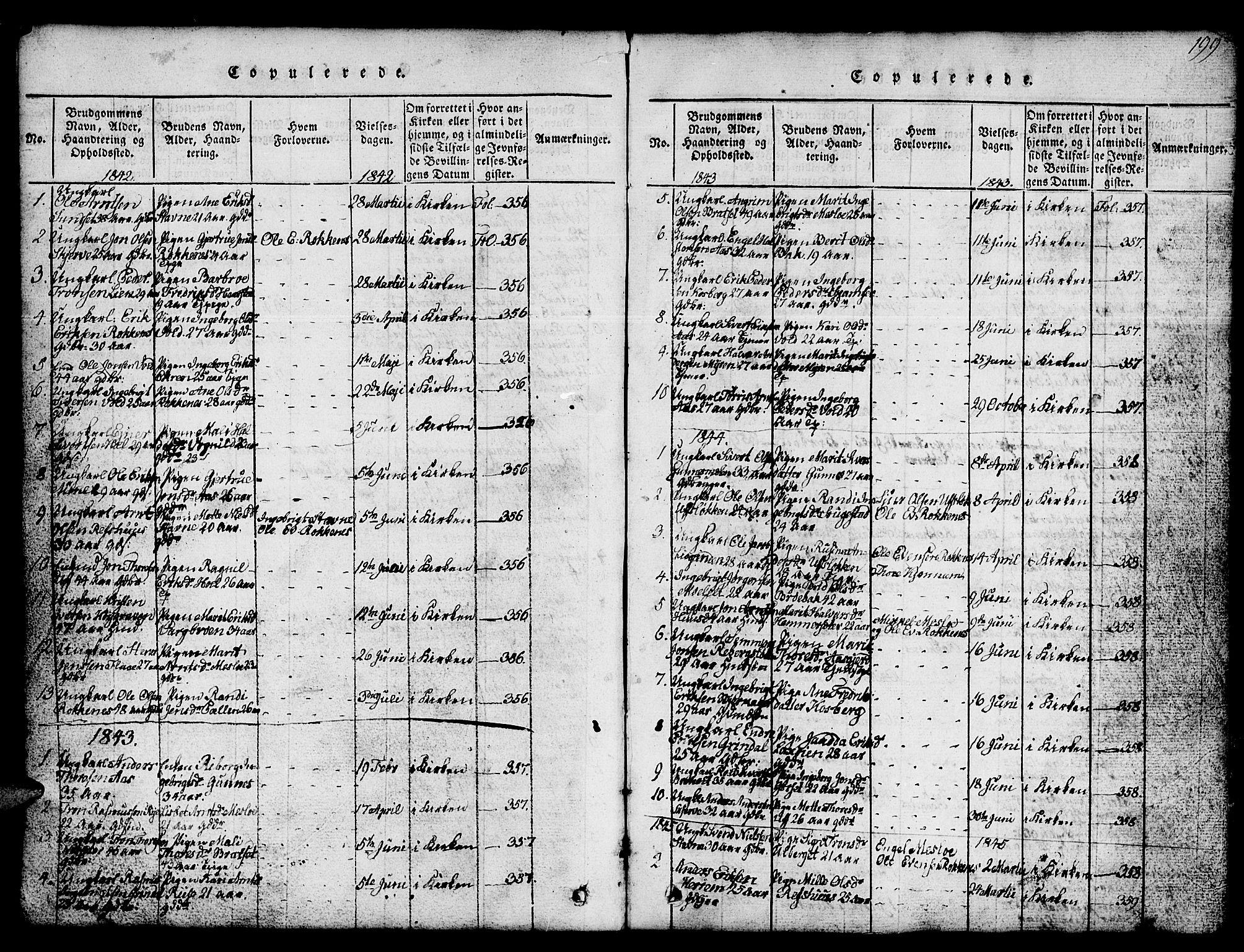 SAT, Ministerialprotokoller, klokkerbøker og fødselsregistre - Sør-Trøndelag, 674/L0874: Klokkerbok nr. 674C01, 1816-1860, s. 199
