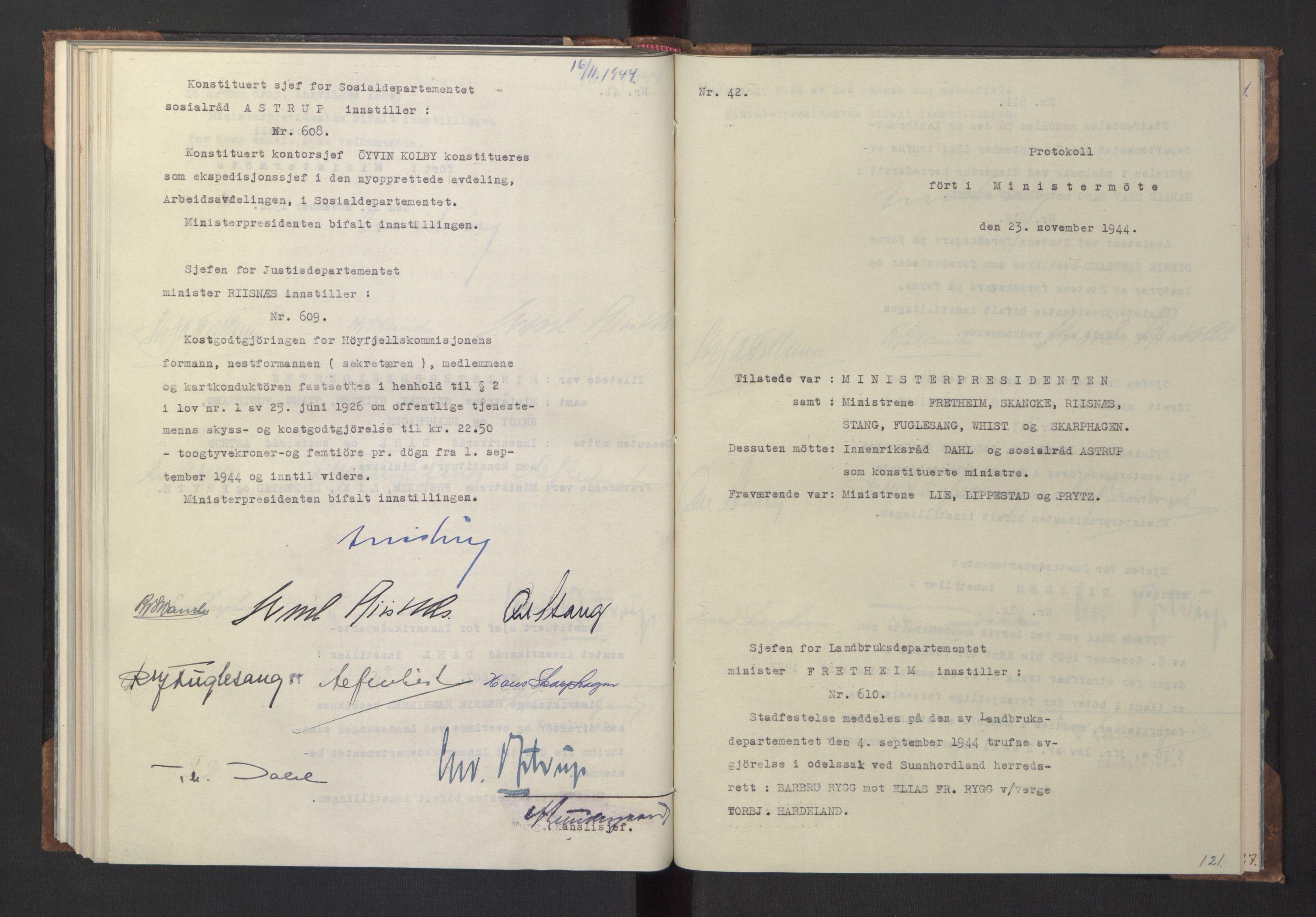 RA, NS-administrasjonen 1940-1945 (Statsrådsekretariatet, de kommisariske statsråder mm), D/Da/L0005: Protokoll fra ministermøter, 1944, s. 120b-121a