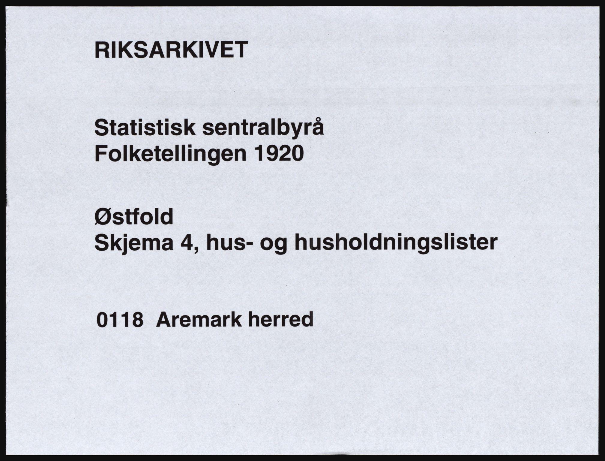 SAO, Folketelling 1920 for 0118 Aremark herred, 1920, s. 1