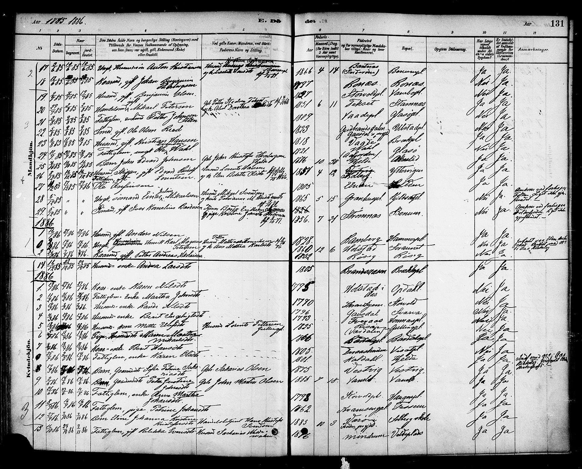 SAT, Ministerialprotokoller, klokkerbøker og fødselsregistre - Nord-Trøndelag, 741/L0395: Ministerialbok nr. 741A09, 1878-1888, s. 131