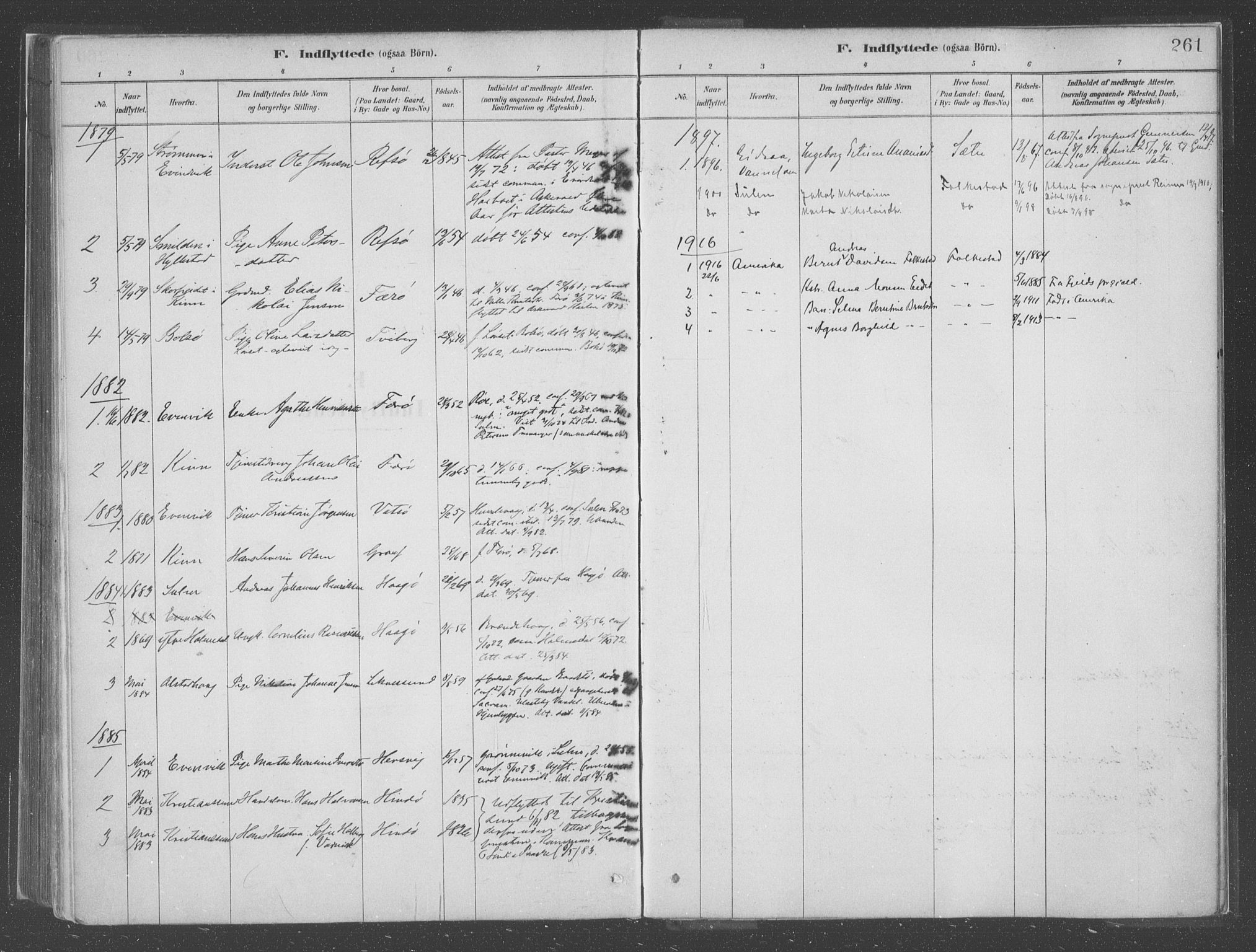 SAB, Askvoll sokneprestembete, H/Haa/Haac/L0001: Ministerialbok nr. C  1, 1879-1922, s. 261