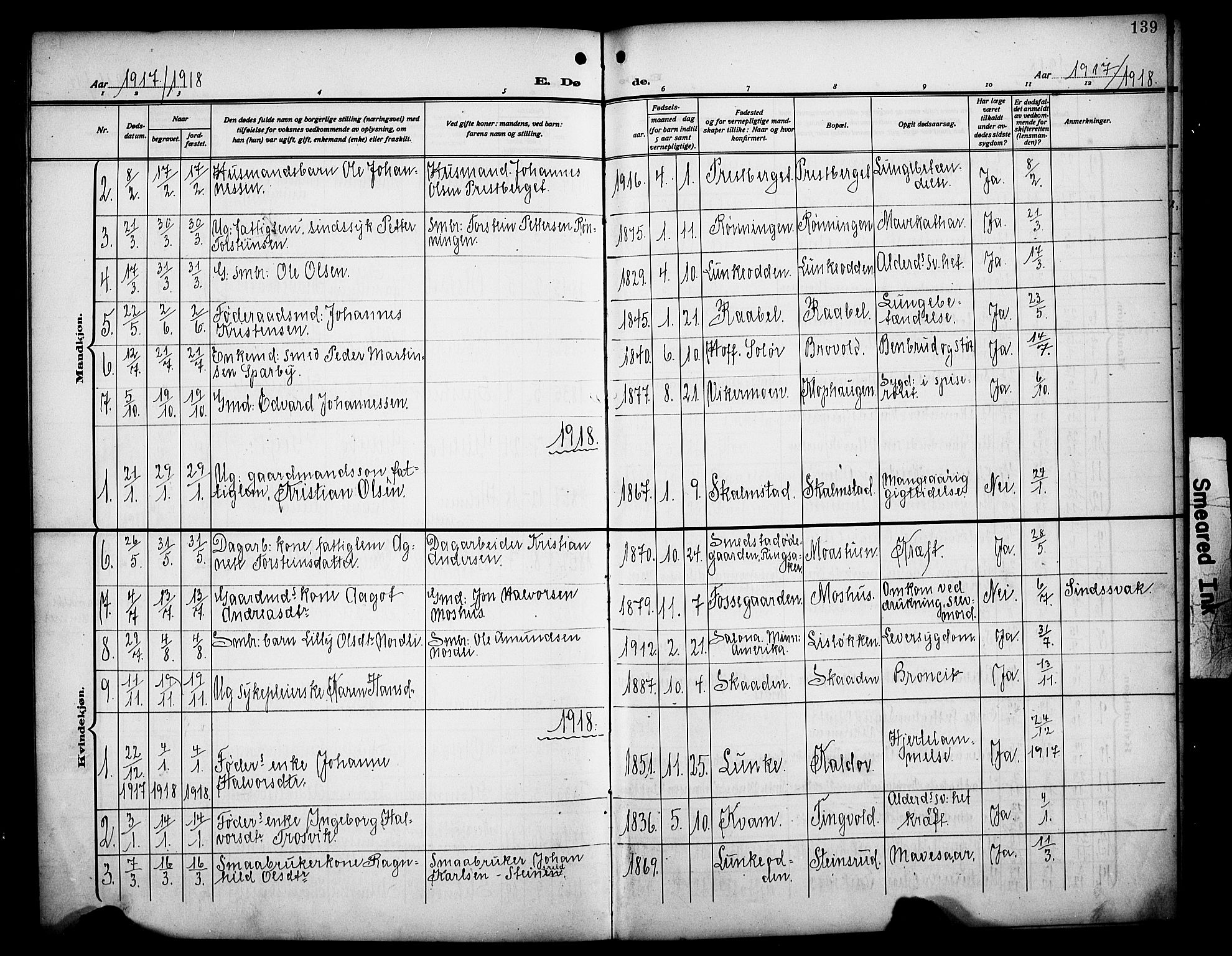 SAH, Øyer prestekontor, Klokkerbok nr. 7, 1913-1928, s. 139