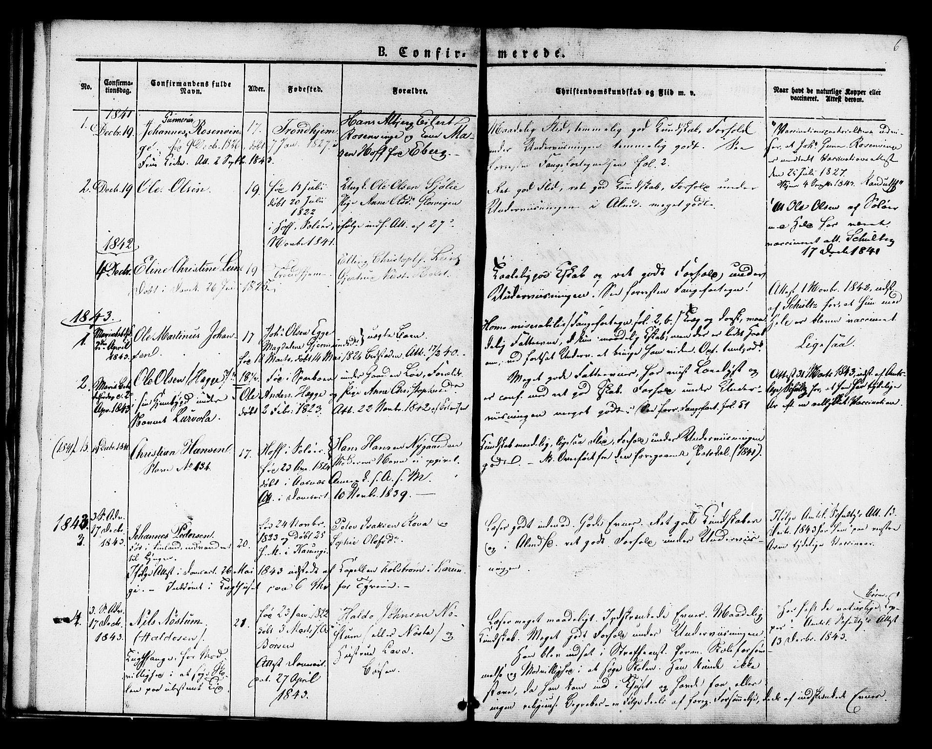 SAT, Ministerialprotokoller, klokkerbøker og fødselsregistre - Sør-Trøndelag, 624/L0480: Ministerialbok nr. 624A01, 1841-1864, s. 6