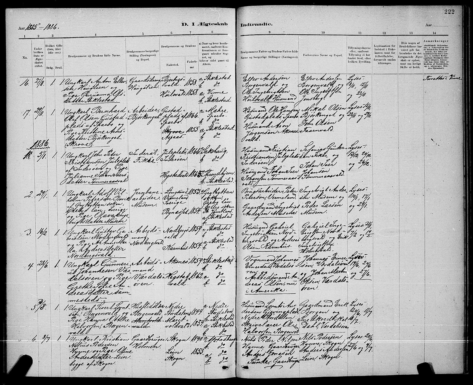 SAT, Ministerialprotokoller, klokkerbøker og fødselsregistre - Nord-Trøndelag, 723/L0256: Klokkerbok nr. 723C04, 1879-1890, s. 222