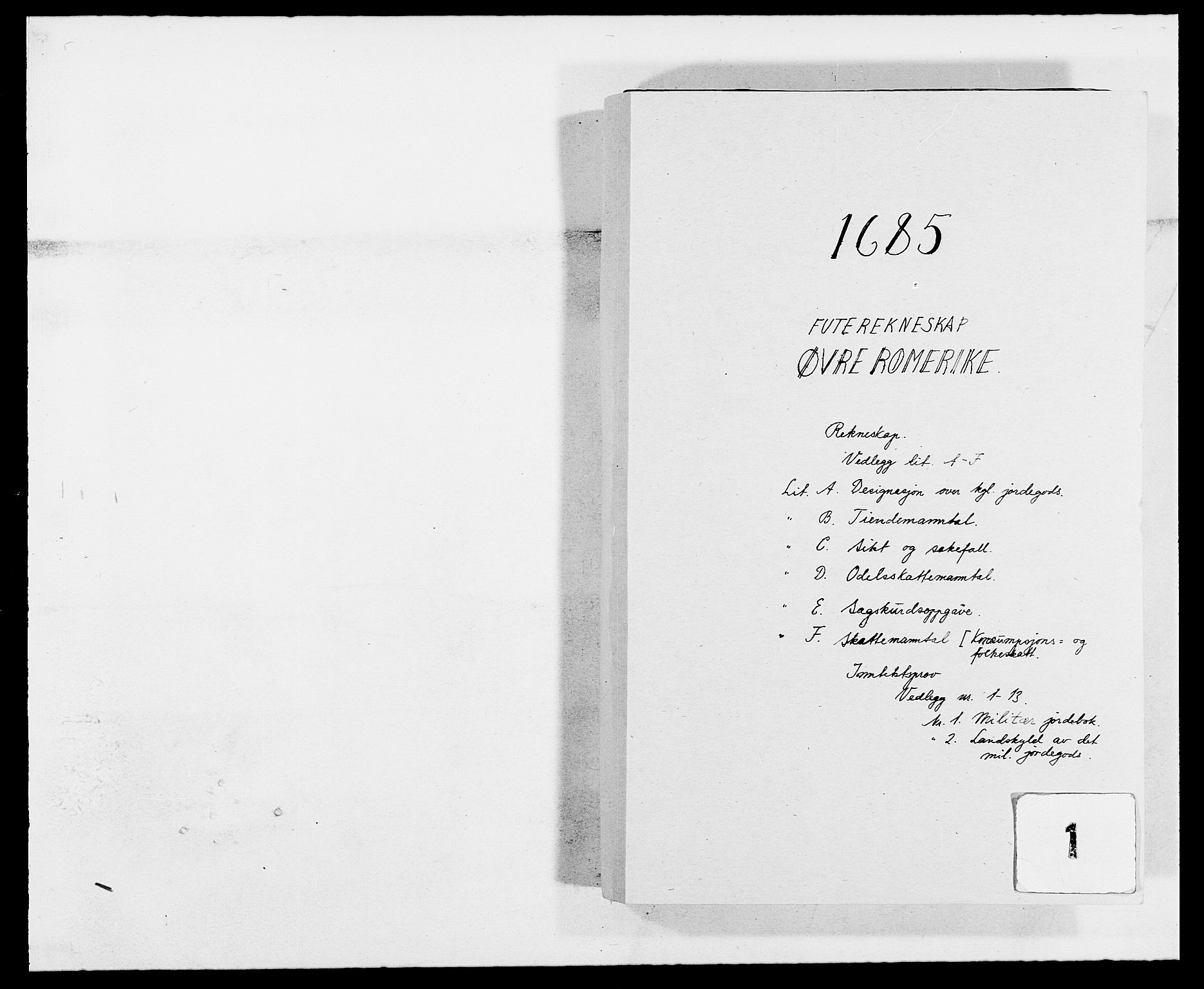RA, Rentekammeret inntil 1814, Reviderte regnskaper, Fogderegnskap, R12/L0699: Fogderegnskap Øvre Romerike, 1685-1686, s. 1
