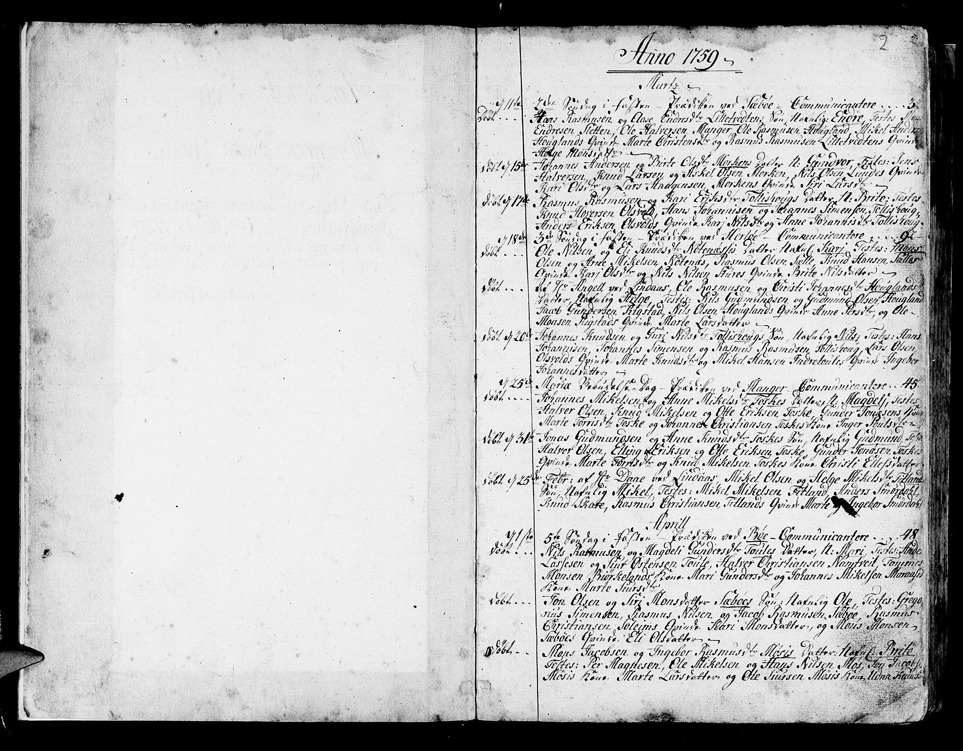 SAB, Manger sokneprestembete, H/Haa: Ministerialbok nr. A 1, 1759-1791, s. 2