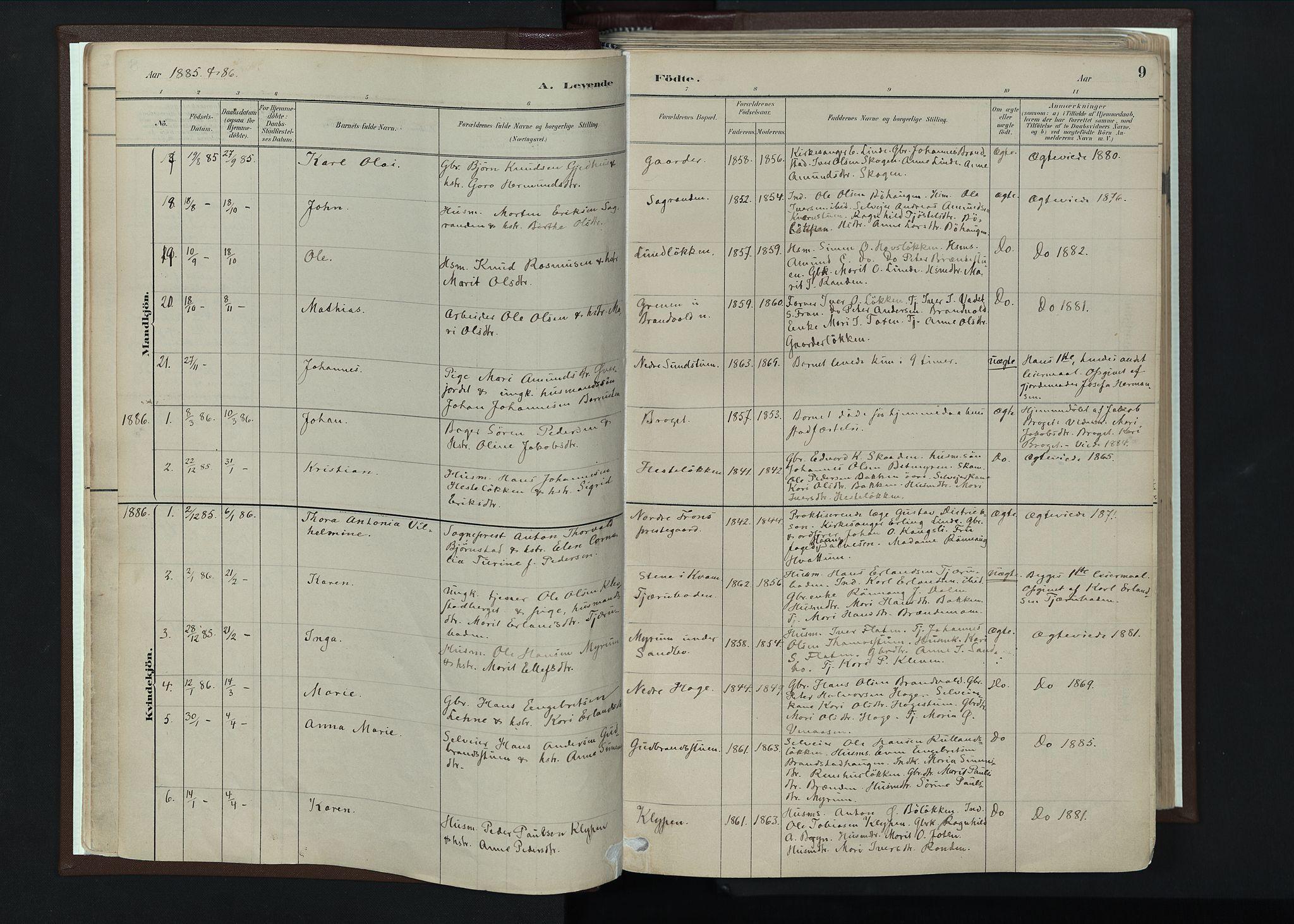 SAH, Nord-Fron prestekontor, Ministerialbok nr. 4, 1884-1914, s. 9