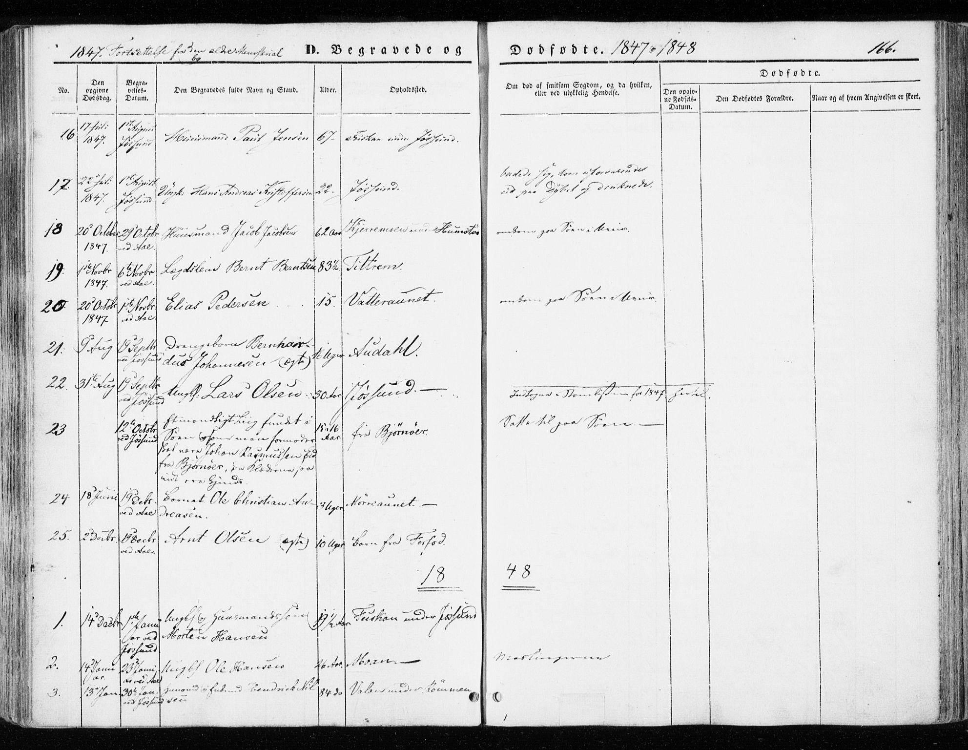 SAT, Ministerialprotokoller, klokkerbøker og fødselsregistre - Sør-Trøndelag, 655/L0677: Ministerialbok nr. 655A06, 1847-1860, s. 166