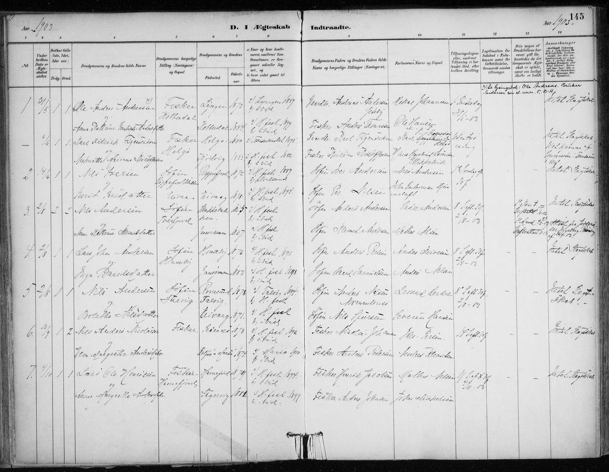 SATØ, Hammerfest sokneprestkontor, H/Ha/L0013.kirke: Ministerialbok nr. 13, 1898-1917, s. 145