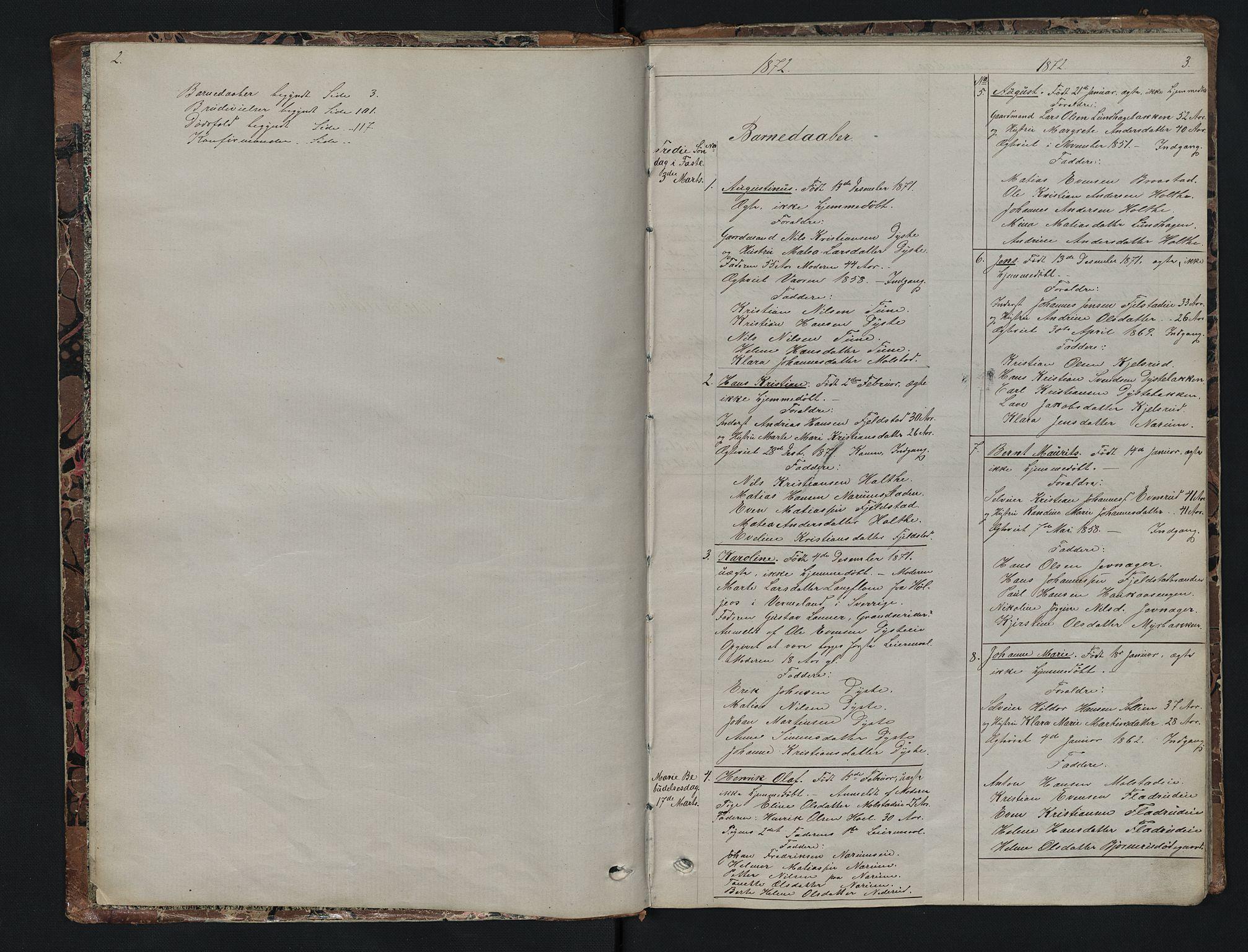 SAH, Vestre Toten prestekontor, Klokkerbok nr. 7, 1872-1900, s. 2-3