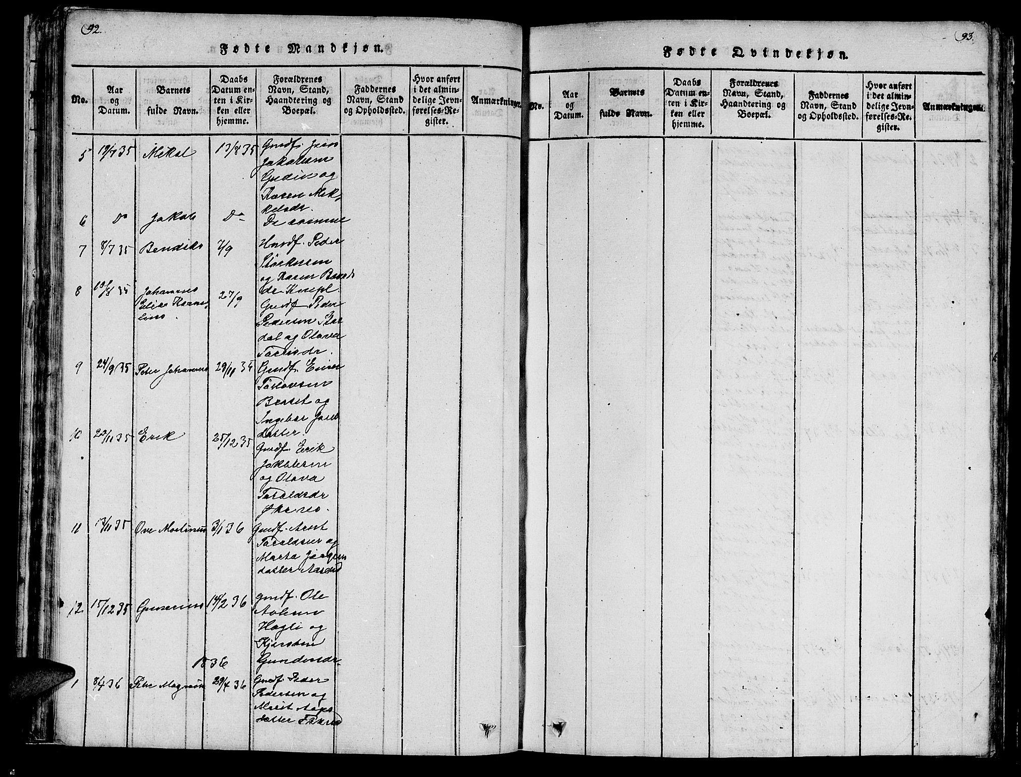 SAT, Ministerialprotokoller, klokkerbøker og fødselsregistre - Nord-Trøndelag, 747/L0459: Klokkerbok nr. 747C01, 1816-1842, s. 92-93