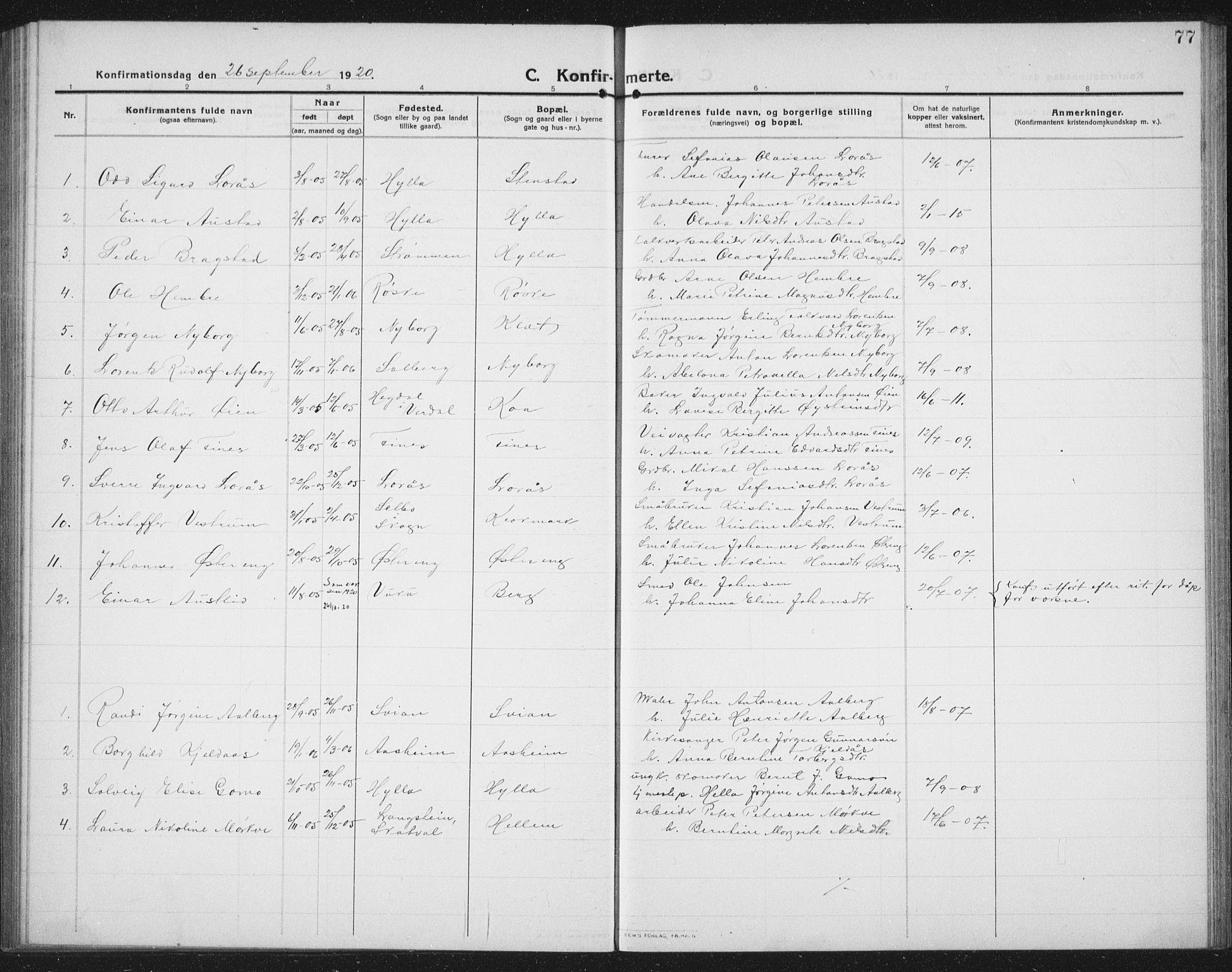 SAT, Ministerialprotokoller, klokkerbøker og fødselsregistre - Nord-Trøndelag, 731/L0312: Klokkerbok nr. 731C03, 1911-1935, s. 77