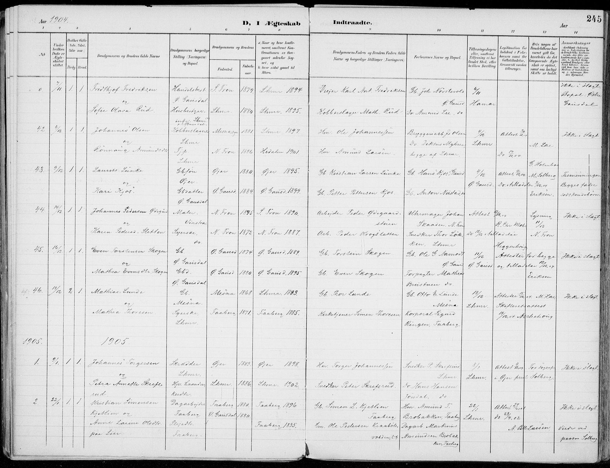 SAH, Lillehammer prestekontor, Ministerialbok nr. 1, 1901-1916, s. 245