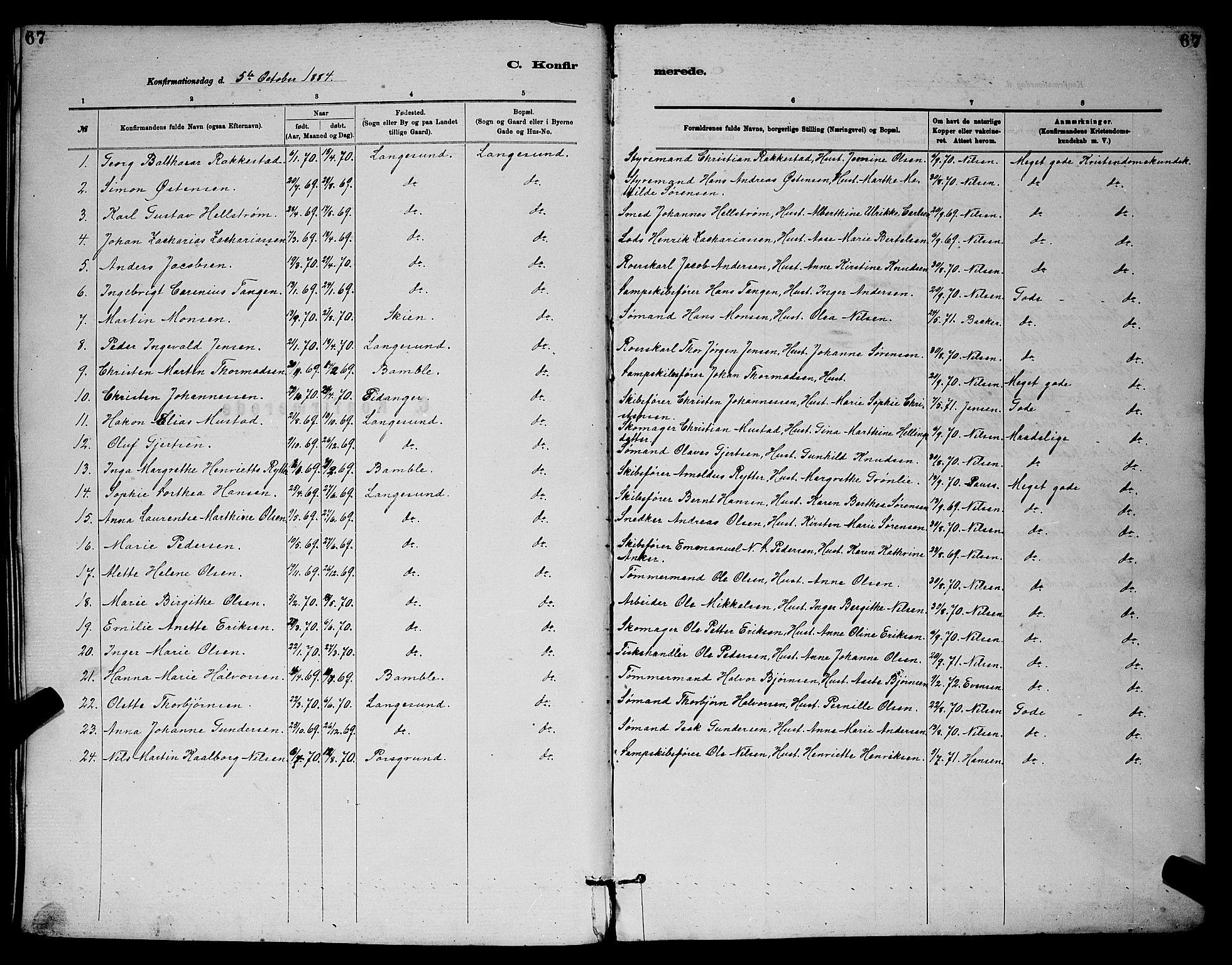 SAKO, Langesund kirkebøker, G/Ga/L0005: Klokkerbok nr. 5, 1884-1898, s. 67