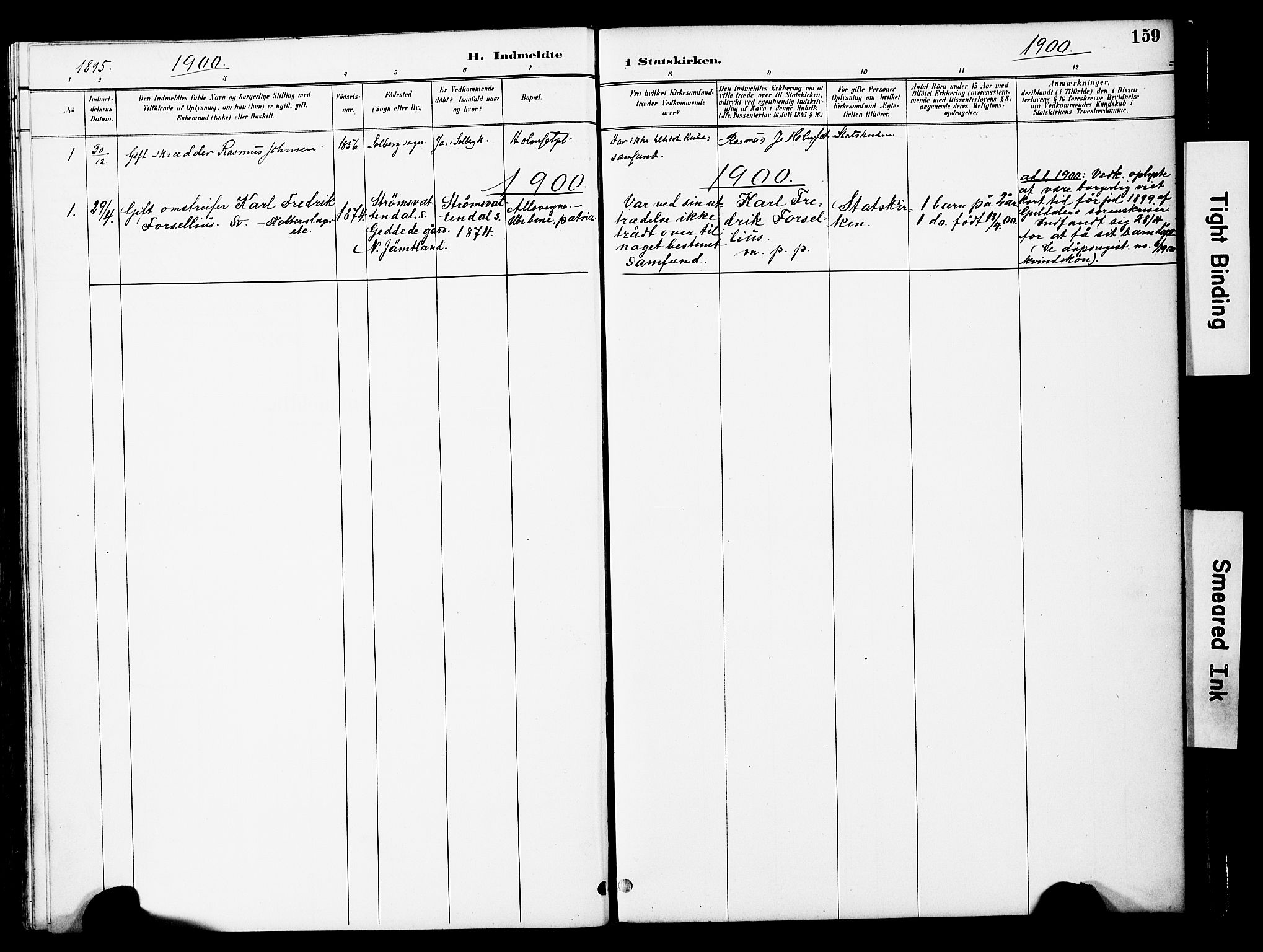 SAT, Ministerialprotokoller, klokkerbøker og fødselsregistre - Nord-Trøndelag, 741/L0396: Ministerialbok nr. 741A10, 1889-1901, s. 159