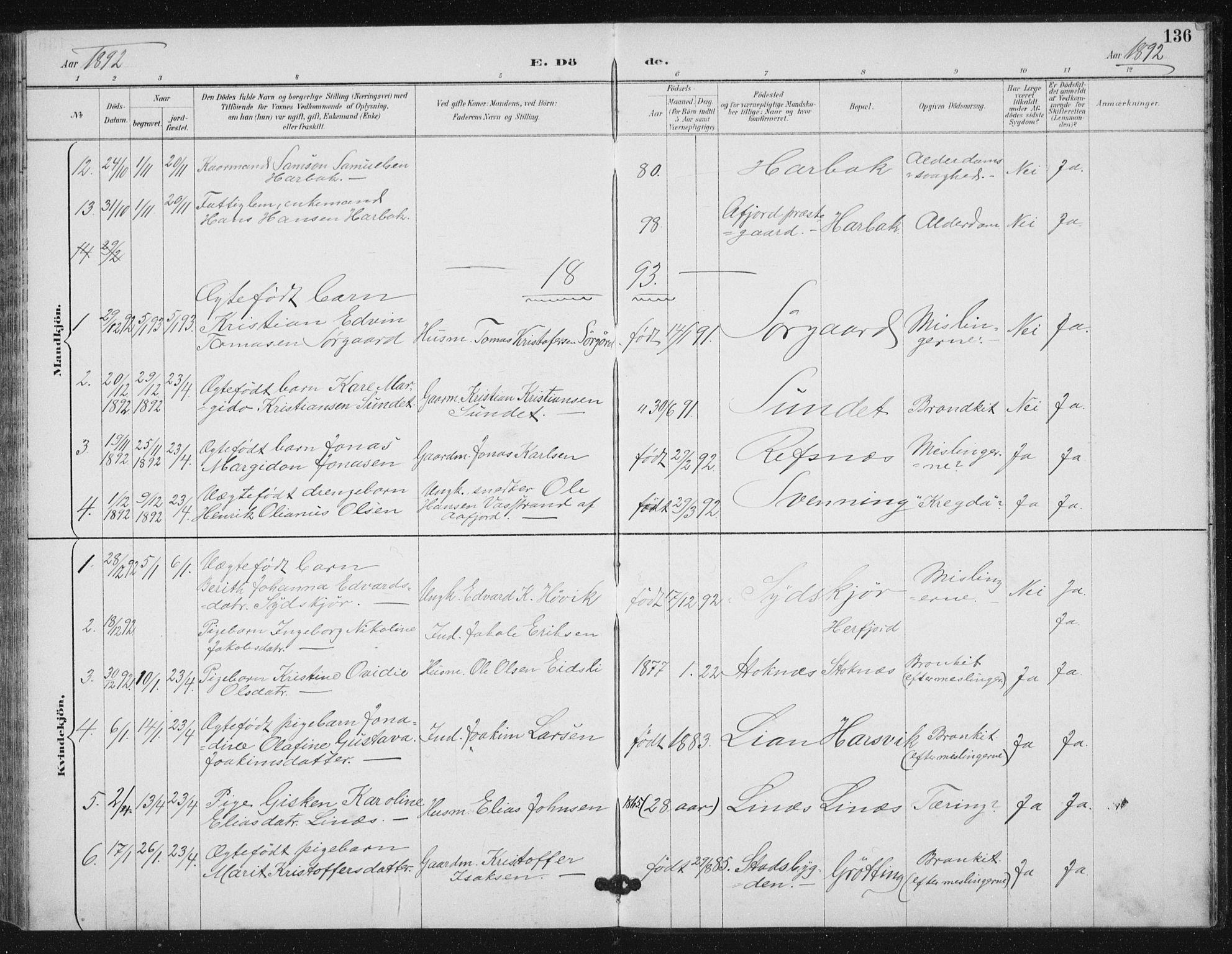 SAT, Ministerialprotokoller, klokkerbøker og fødselsregistre - Sør-Trøndelag, 656/L0698: Klokkerbok nr. 656C04, 1890-1904, s. 136