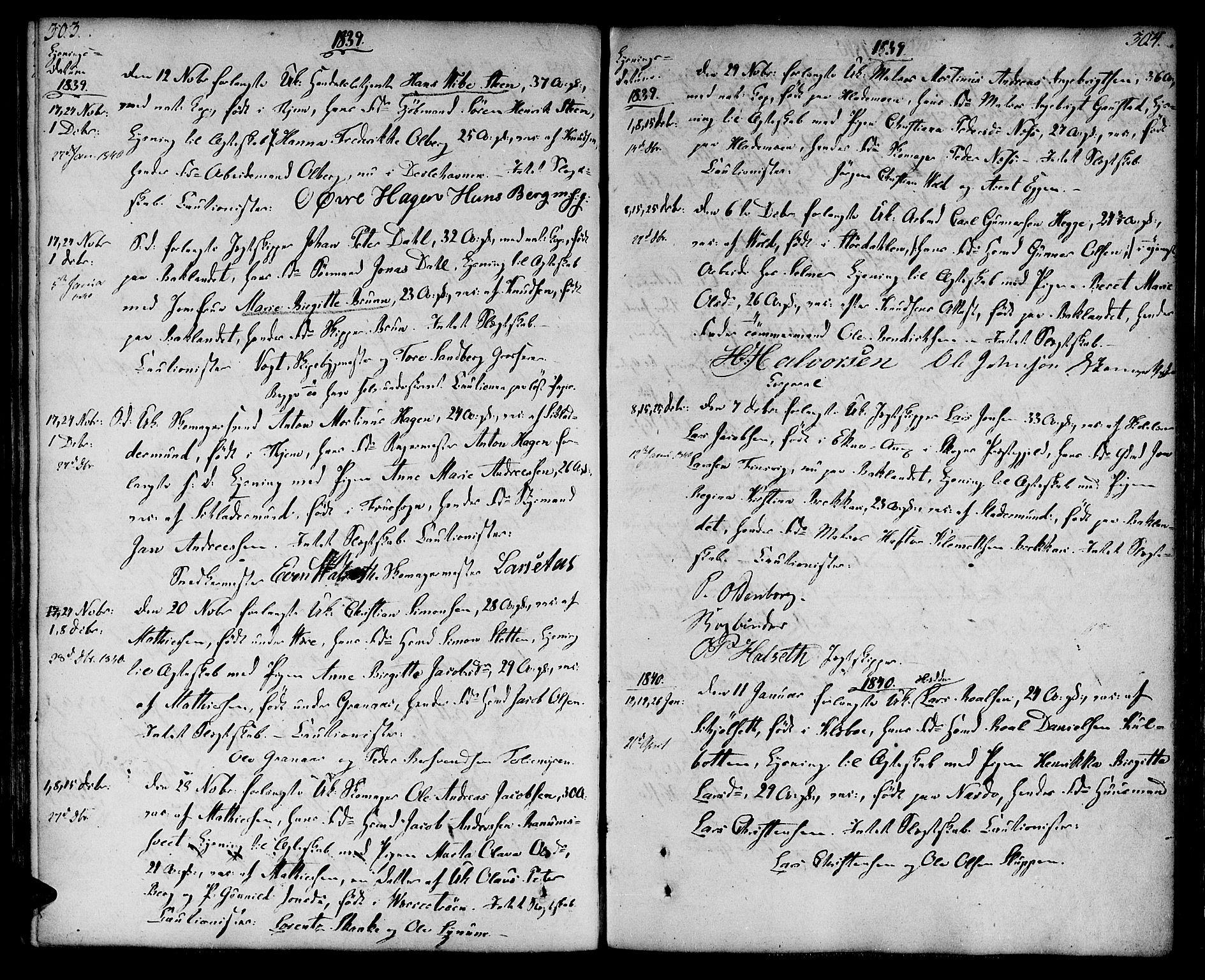 SAT, Ministerialprotokoller, klokkerbøker og fødselsregistre - Sør-Trøndelag, 604/L0181: Ministerialbok nr. 604A02, 1798-1817, s. 303-304