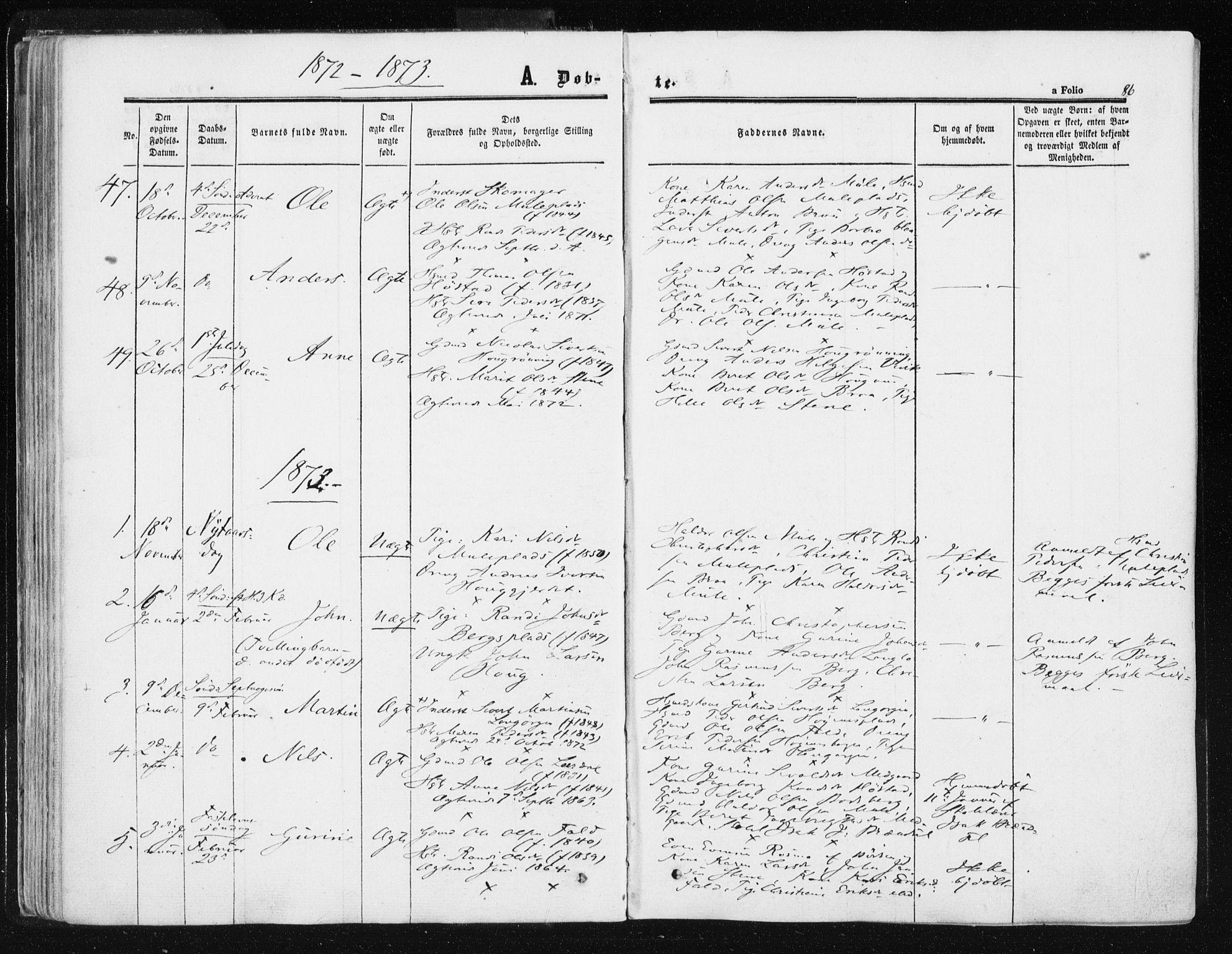 SAT, Ministerialprotokoller, klokkerbøker og fødselsregistre - Sør-Trøndelag, 612/L0377: Ministerialbok nr. 612A09, 1859-1877, s. 86