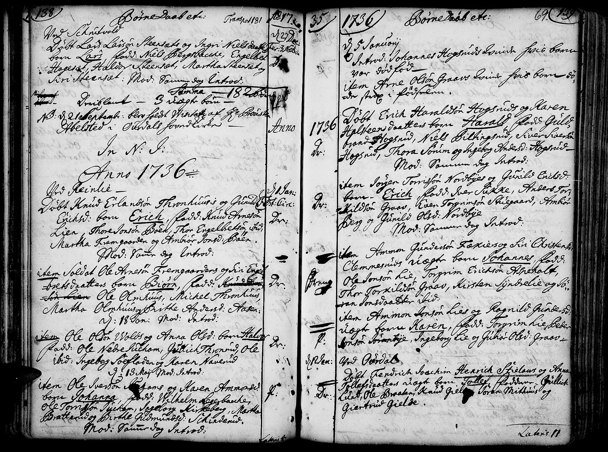 SAH, Aurdal prestekontor, Ministerialbok nr. 4, 1730-1762, s. 138-139