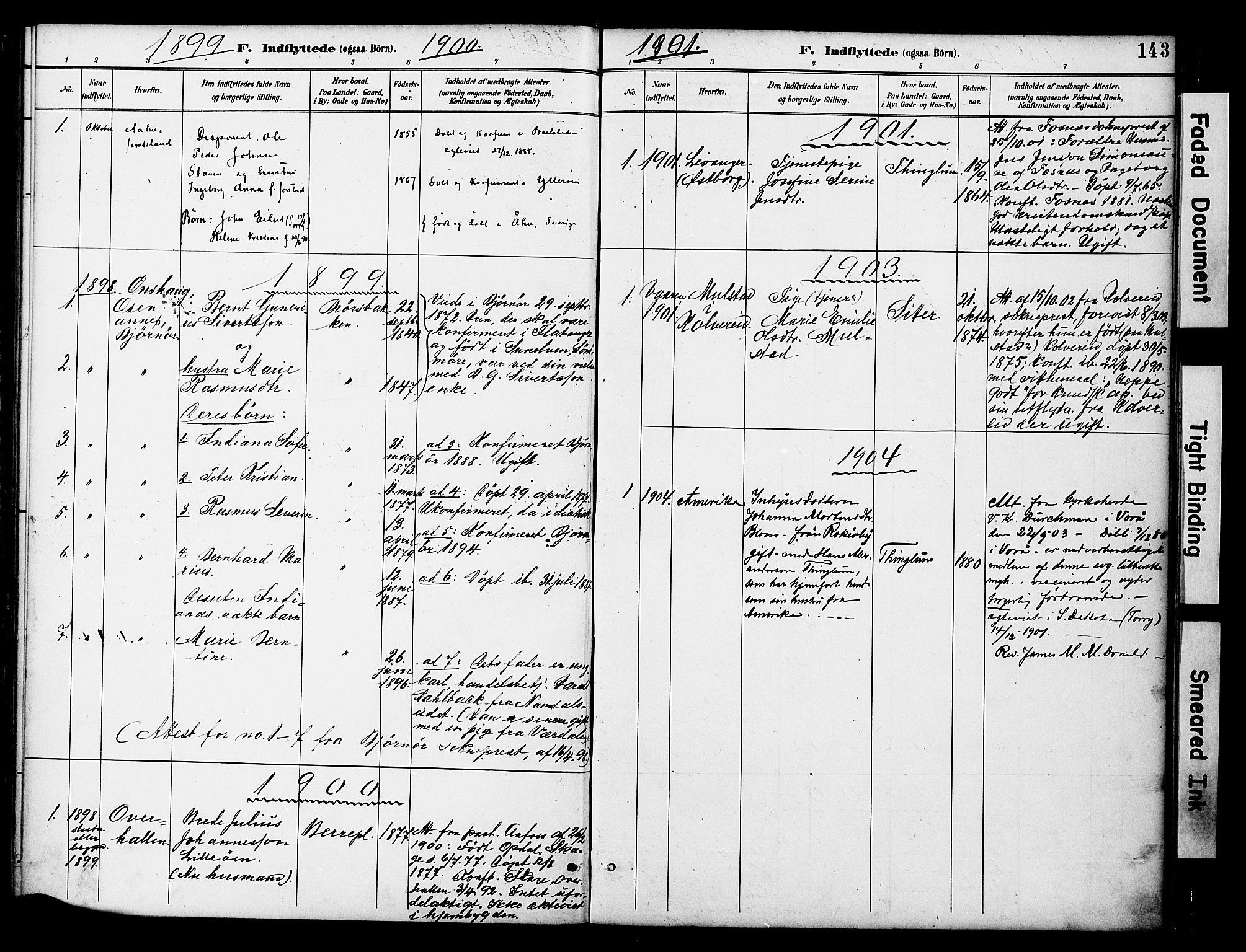 SAT, Ministerialprotokoller, klokkerbøker og fødselsregistre - Nord-Trøndelag, 742/L0409: Ministerialbok nr. 742A02, 1891-1905, s. 143