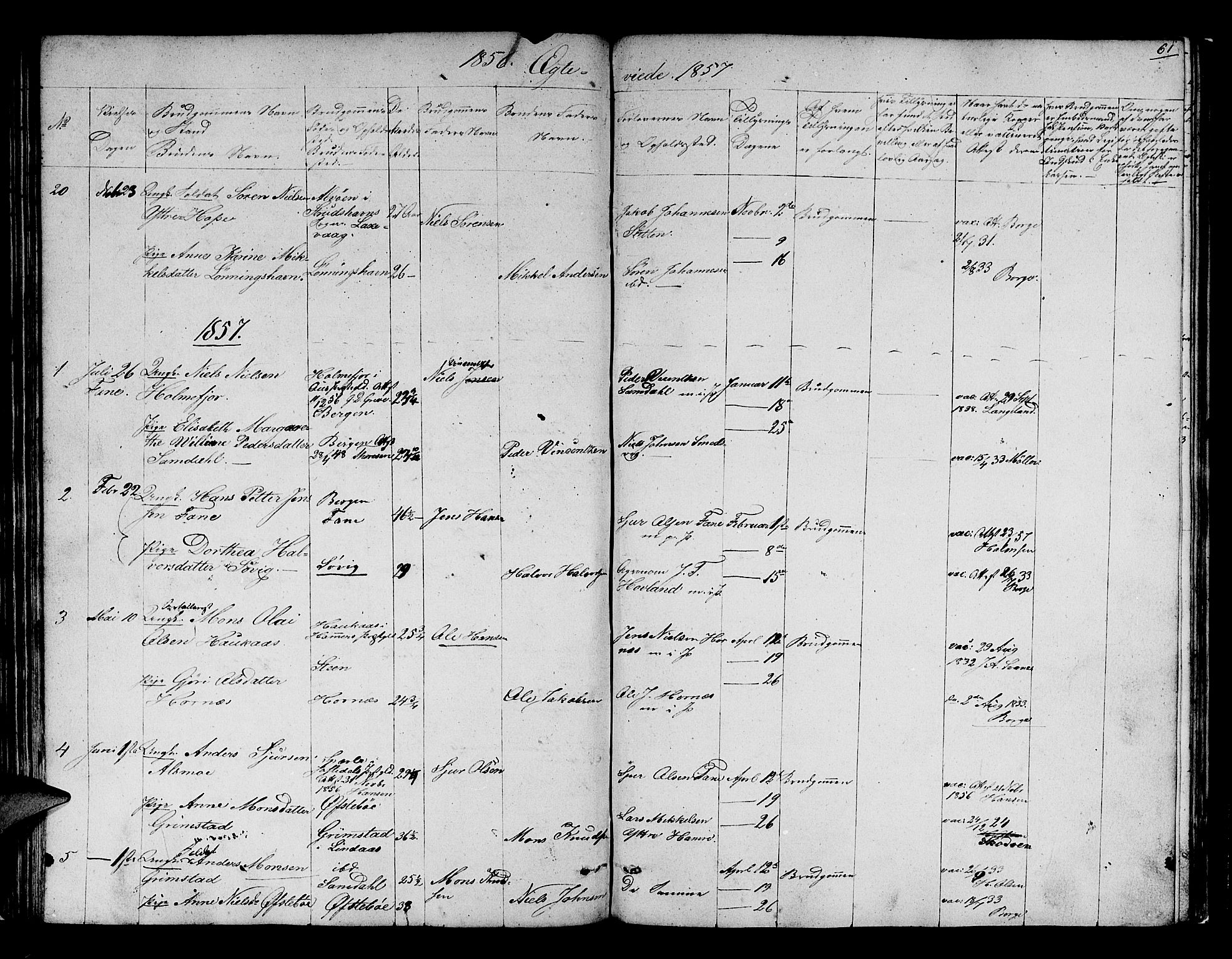 SAB, Fana Sokneprestembete, H/Hab/Habb/L0002: Klokkerbok nr. B 2, 1851-1860, s. 61