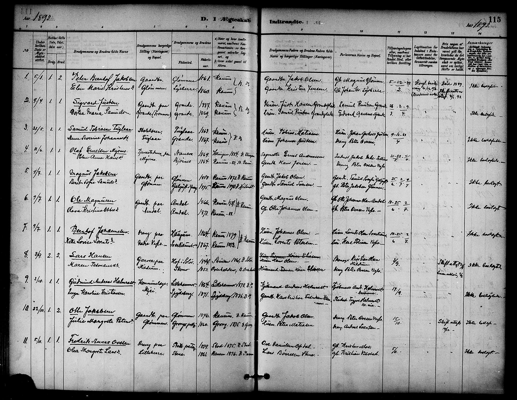 SAT, Ministerialprotokoller, klokkerbøker og fødselsregistre - Nord-Trøndelag, 764/L0555: Ministerialbok nr. 764A10, 1881-1896, s. 115